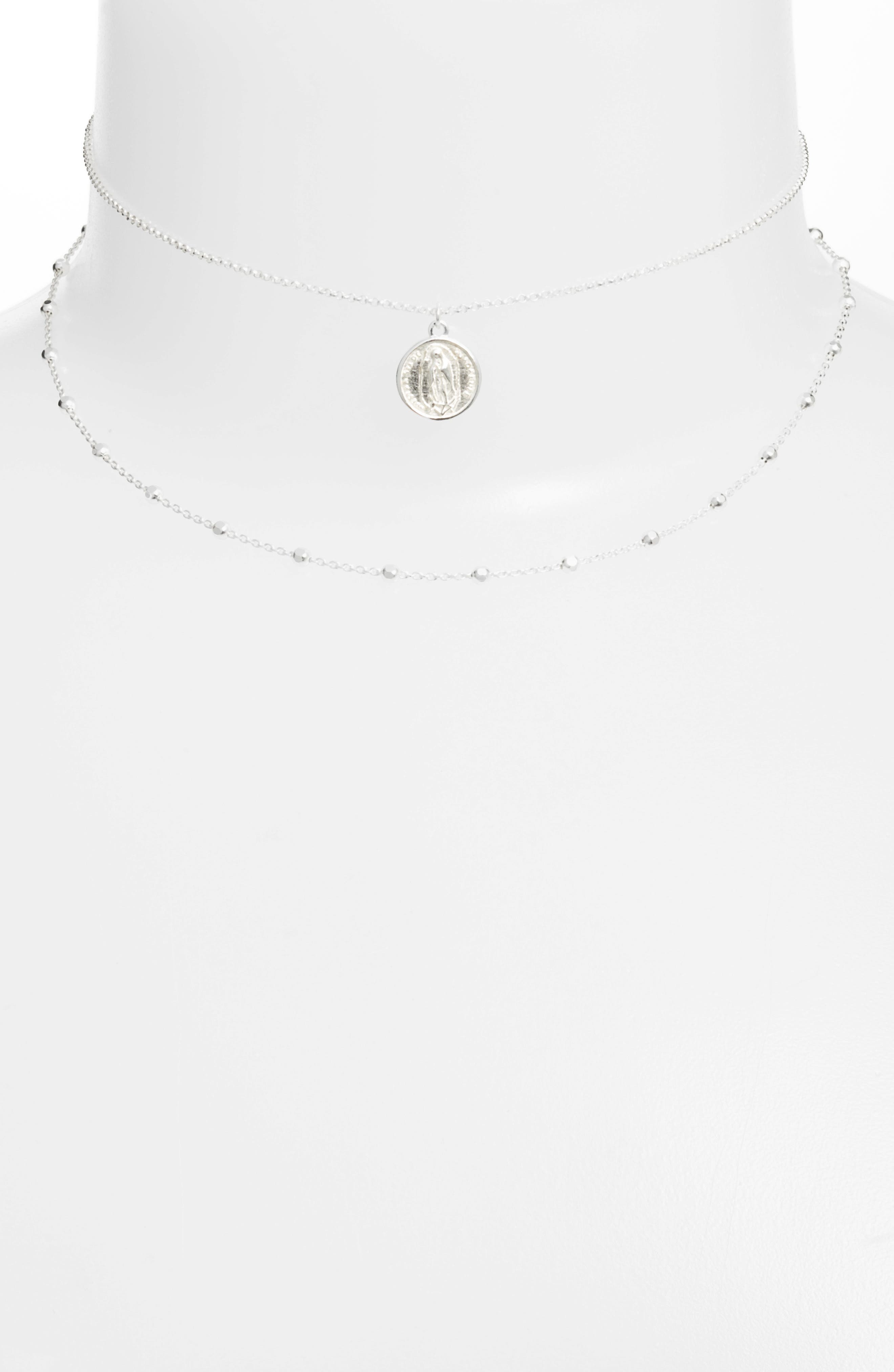 Guadalupe Multistrand Necklace,                         Main,                         color, Silver