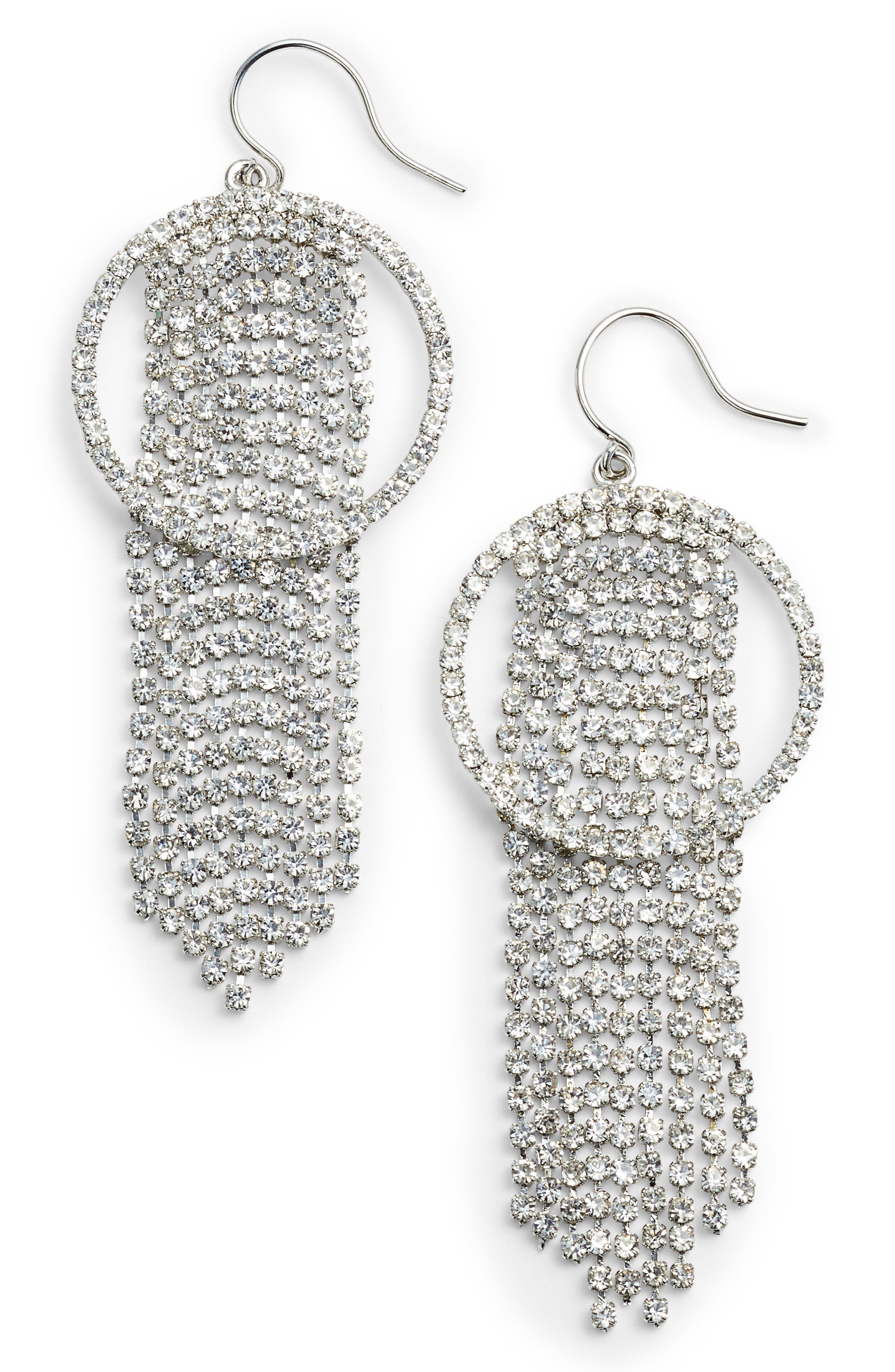 Frontal Hoop Crystal Fringe Drop Earrings,                         Main,                         color, Silver