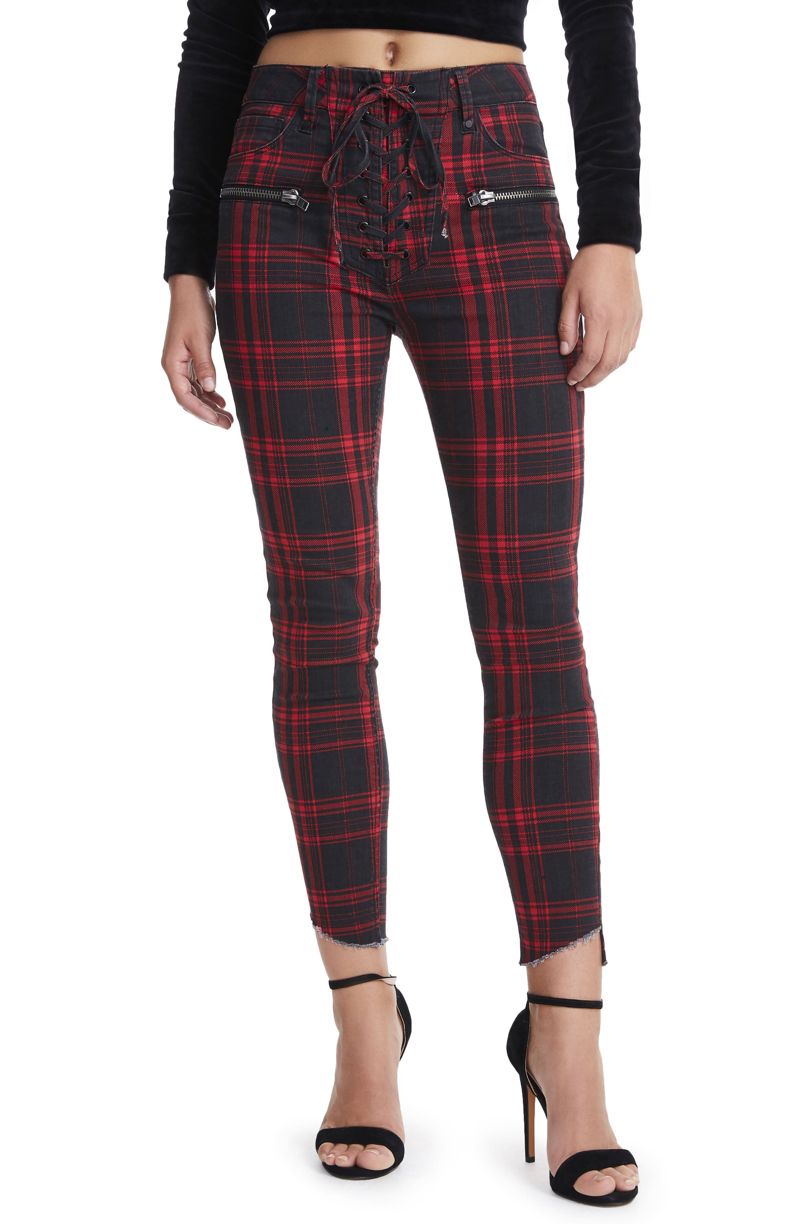 Kit Lace-Up High Waist Ankle Skinny Jeans,                         Main,                         color, London Plaid
