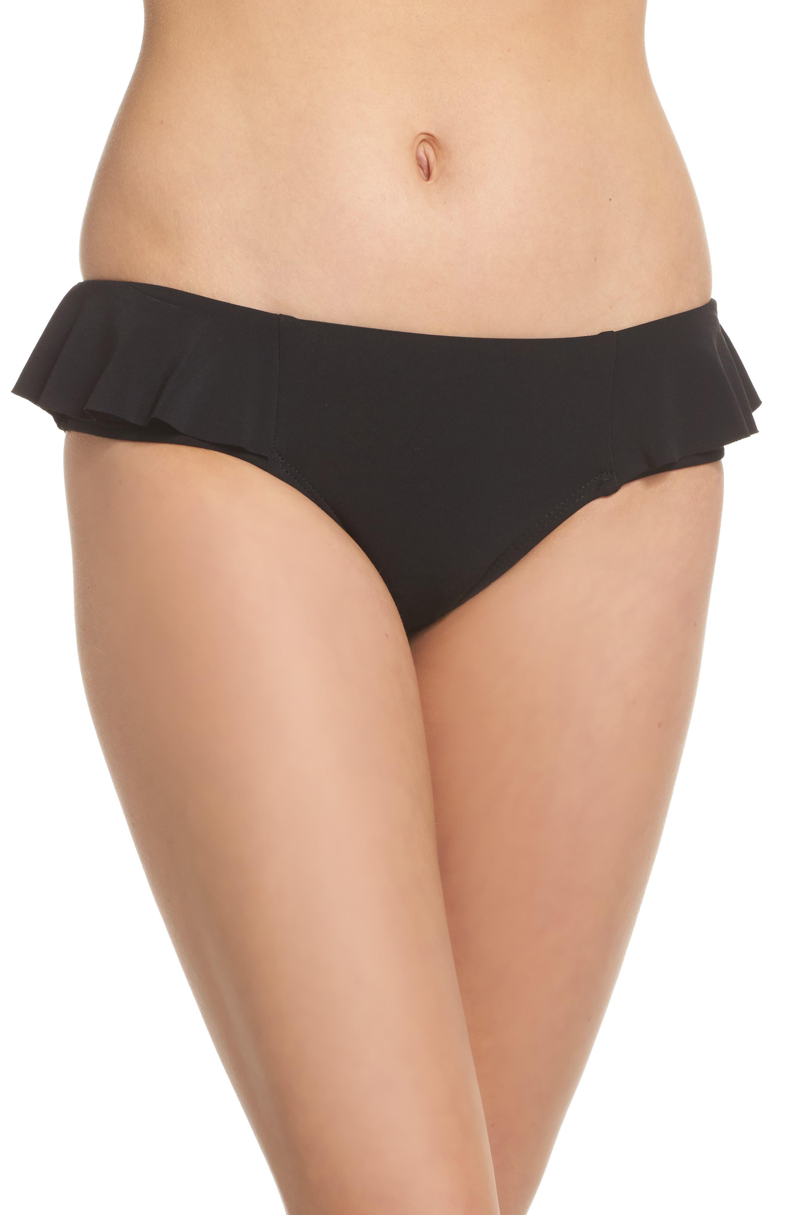 Lina Ruffle Bikini Bottoms,                         Main,                         color, Black