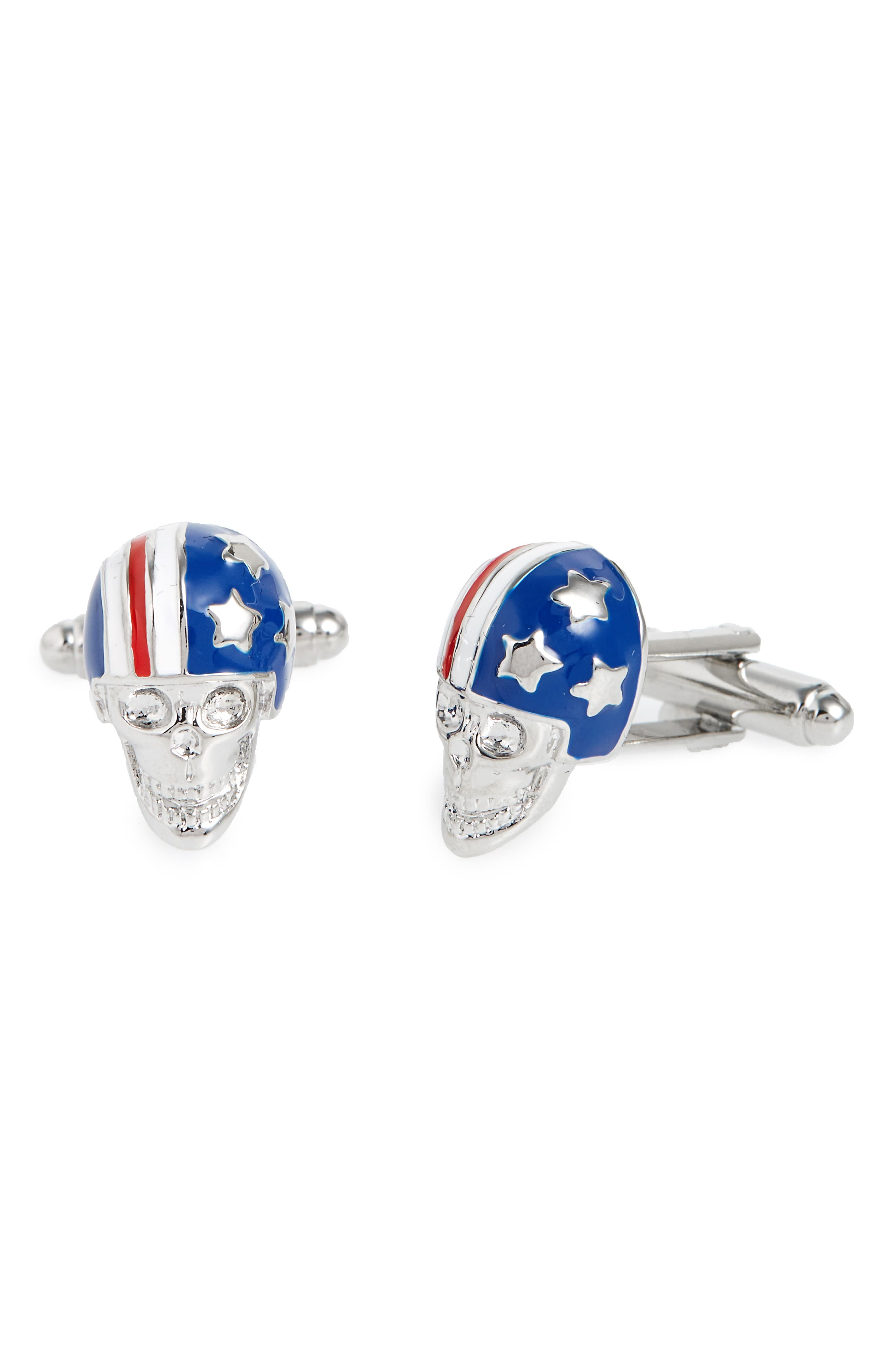 Flag Helmet Cuff Links,                         Main,                         color, Blue/ Silver