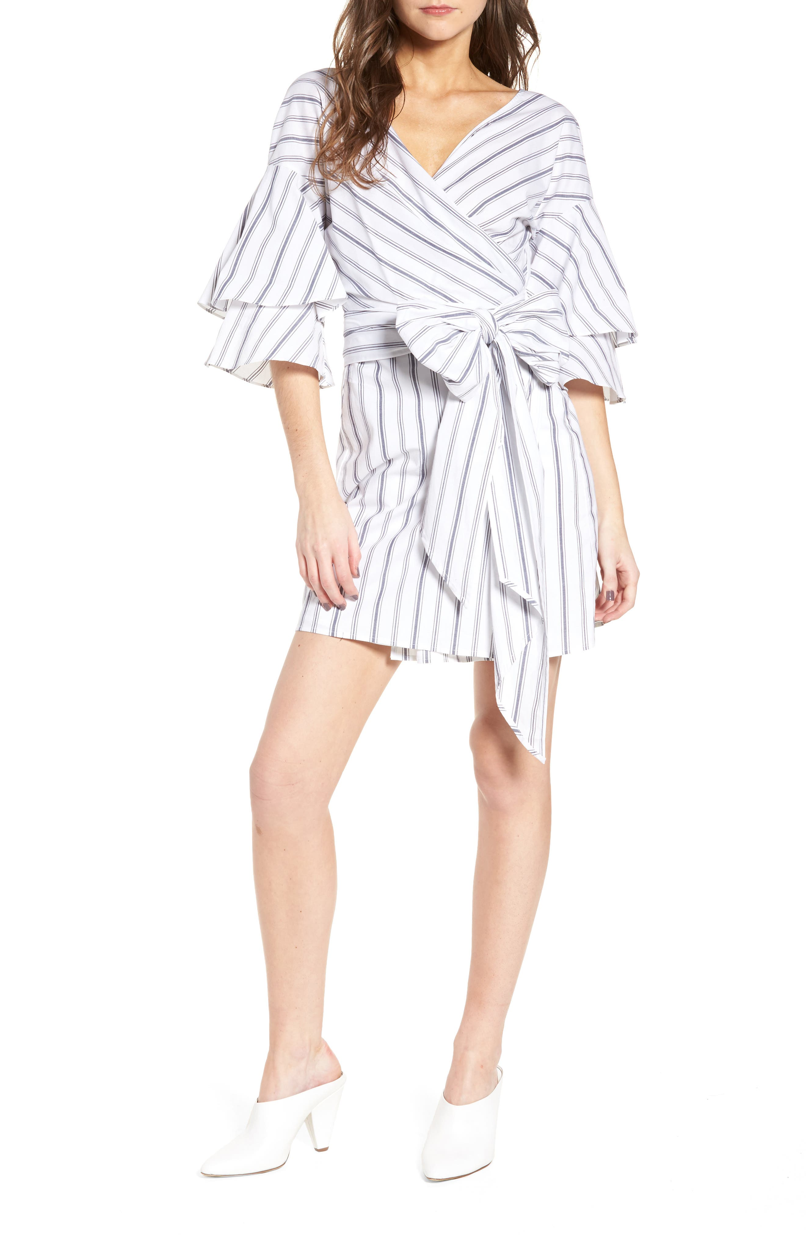 Beckett Wrap Dress,                         Main,                         color, Ivory/ Navy Stripe