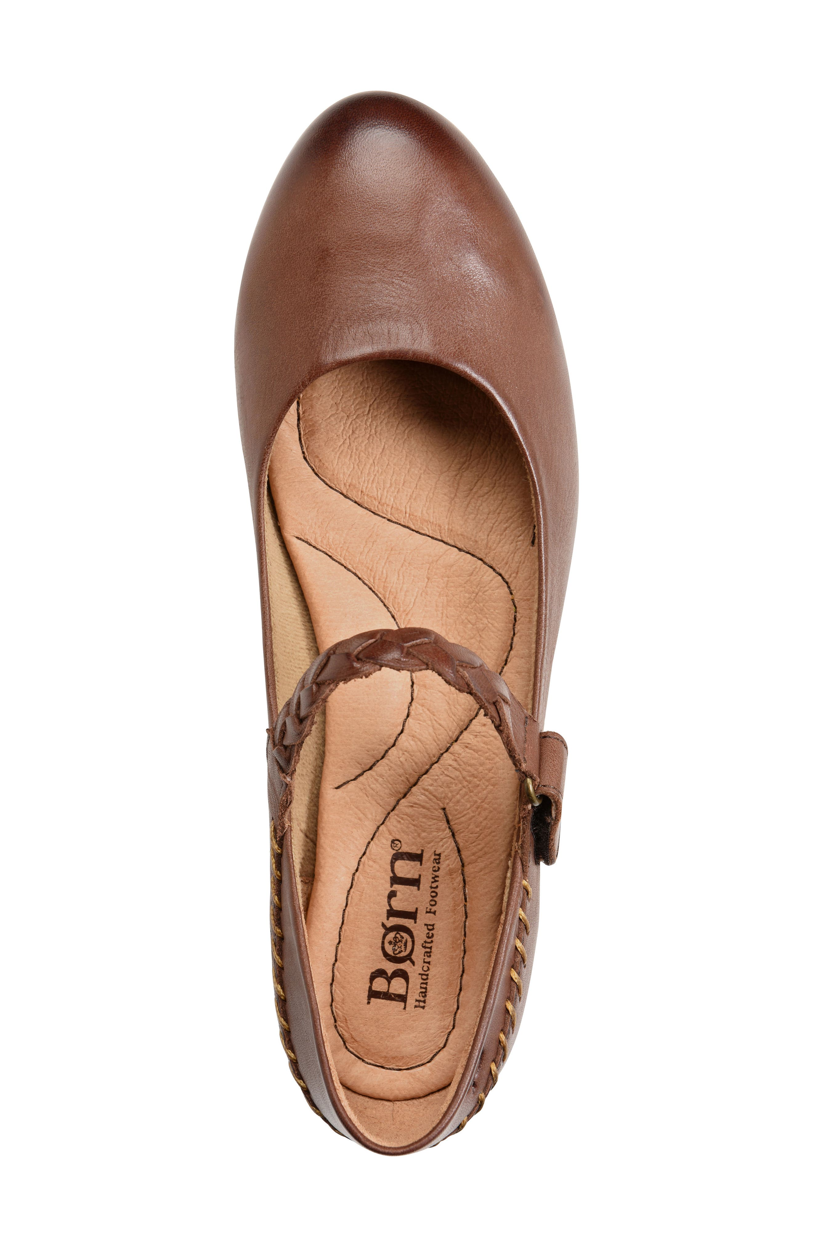 Mary Jane Flat,                             Alternate thumbnail 5, color,                             Brown Leather