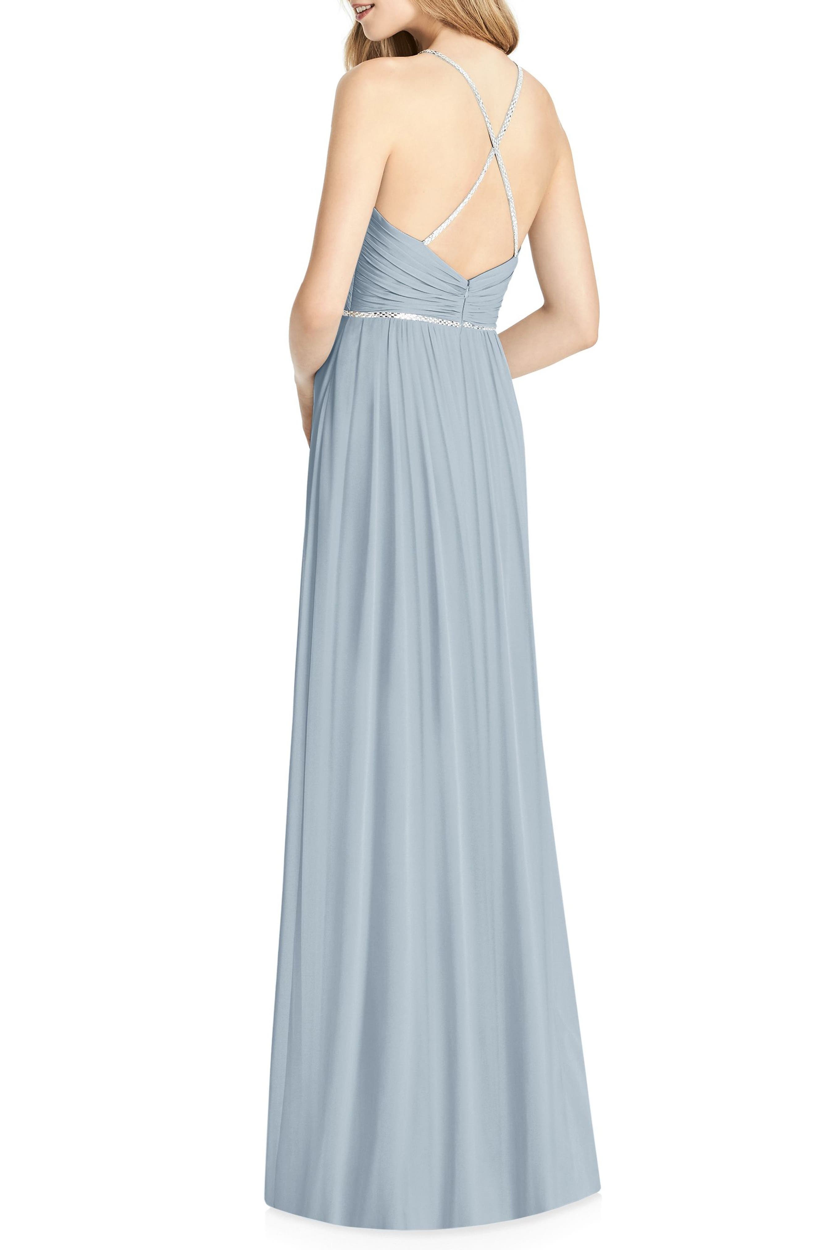 Alternate Image 2  - Jenny Packham Pleated Bodice Chiffon Gown