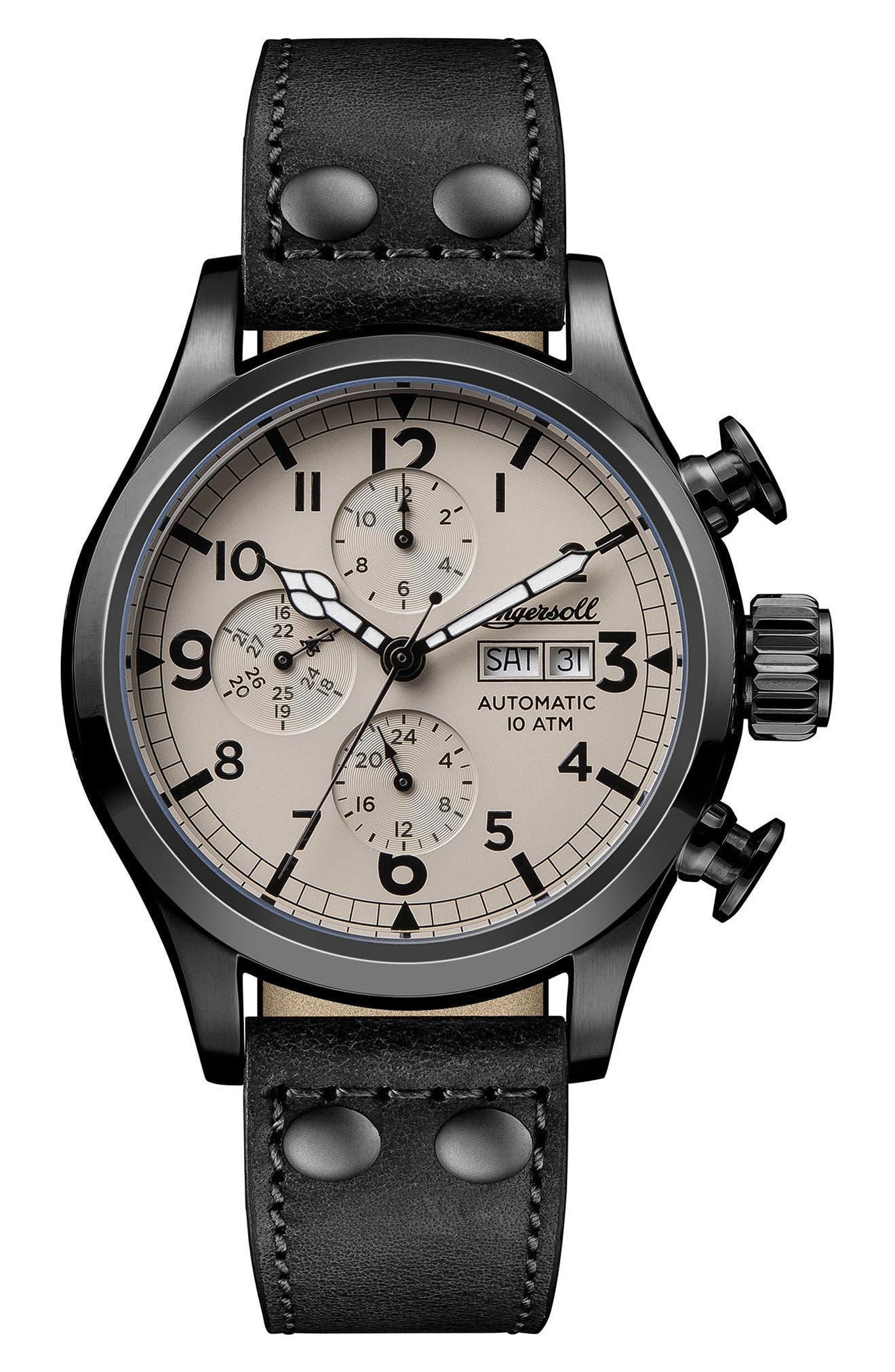 Ingersoll Armstrong Automatic Chronograph Leather Strap Watch, 46mm,                         Main,                         color, Black/ Beige/ Gunmetal