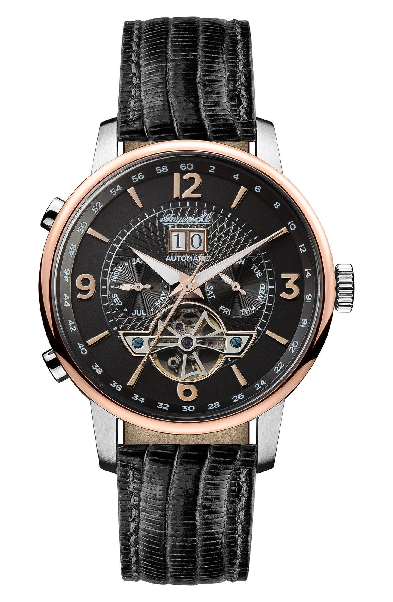 Ingersoll Grafton Automatic Leather Strap Watch, 42mm,                         Main,                         color, Black/ Rose Gold/ Silver