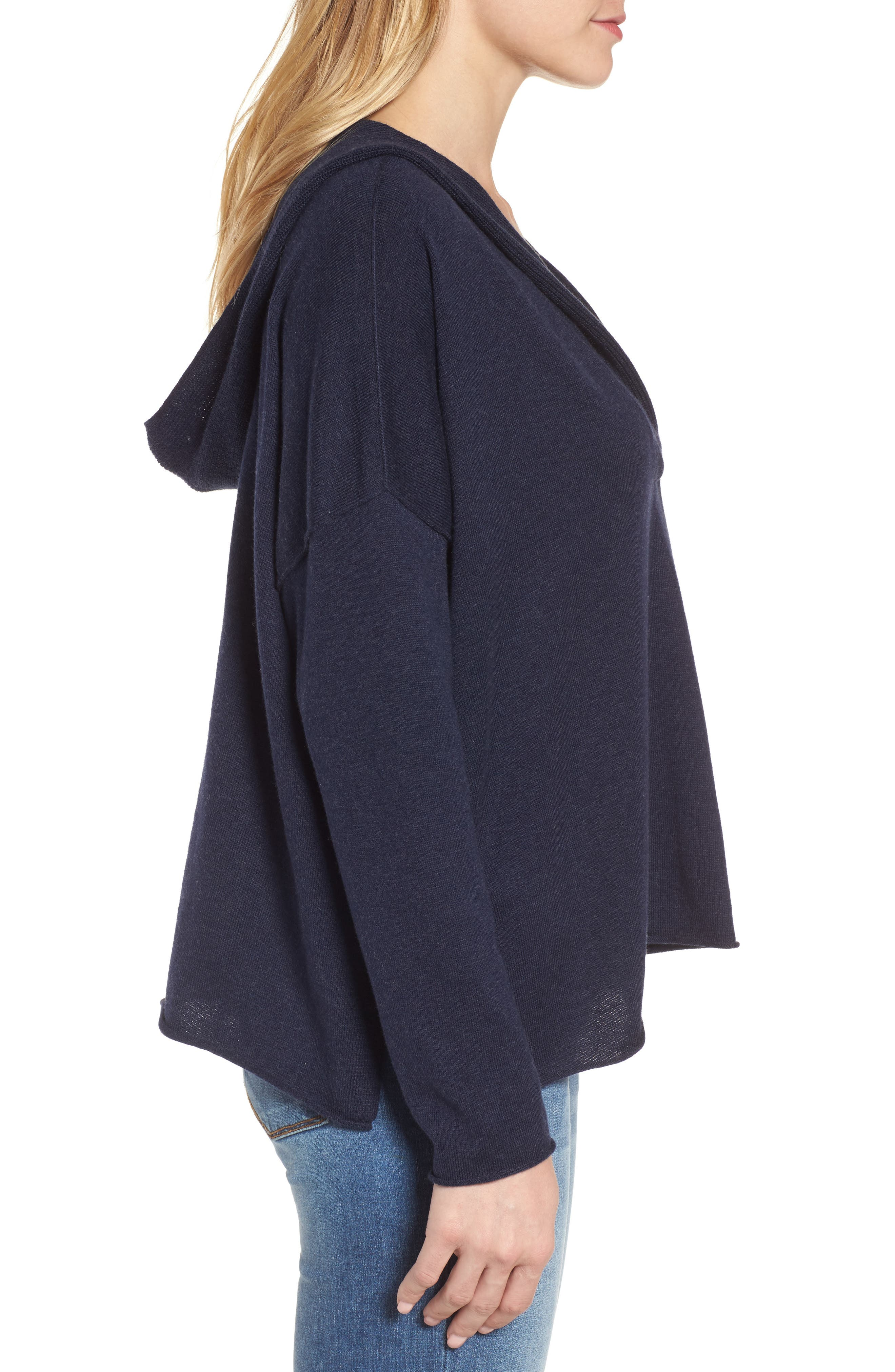 Hooded Organic Cotton Box Sweater,                             Alternate thumbnail 3, color,                             Midnight