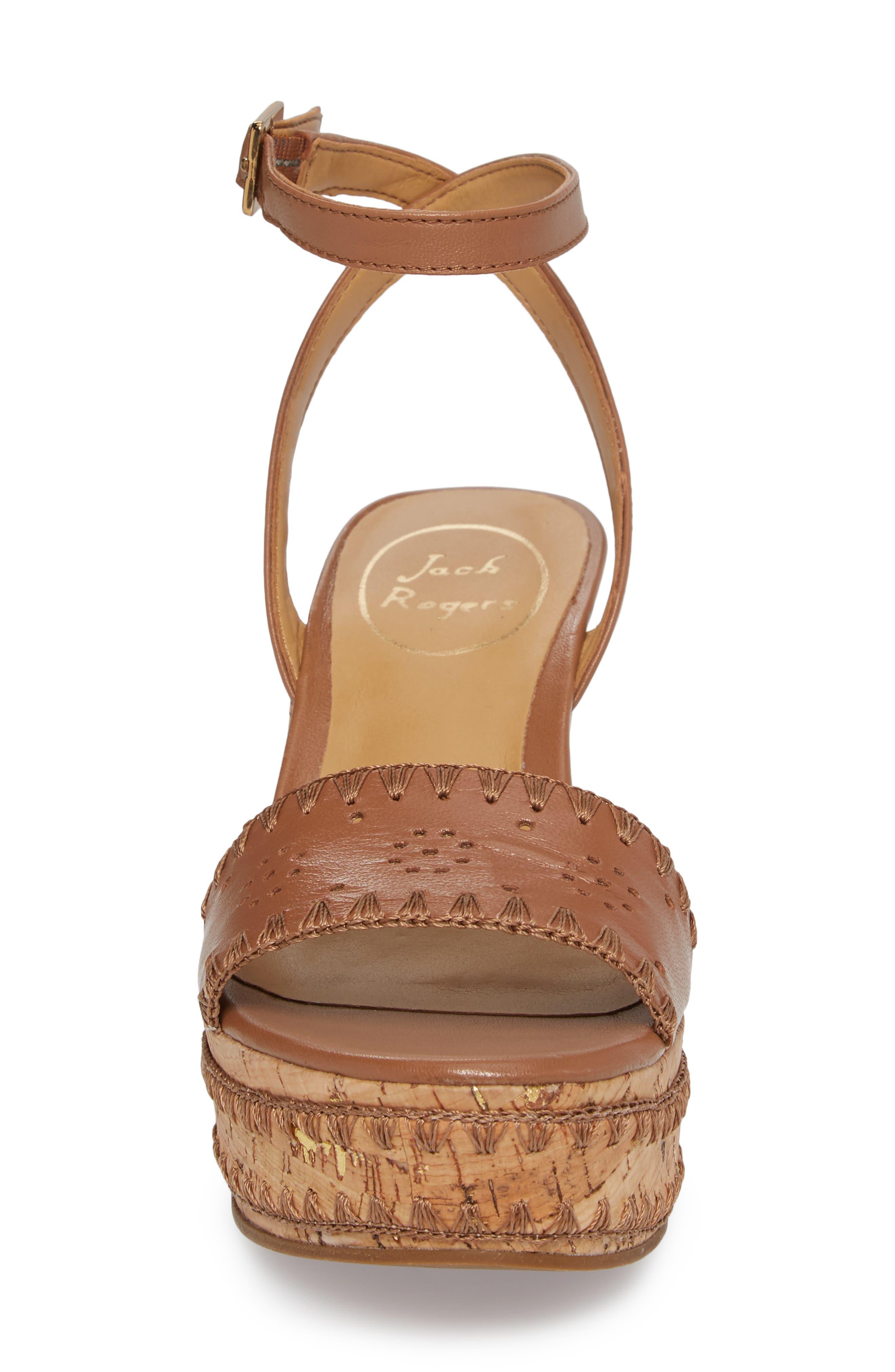 Lennon Platform Wedge Sandal,                             Alternate thumbnail 4, color,                             Cognac Leather