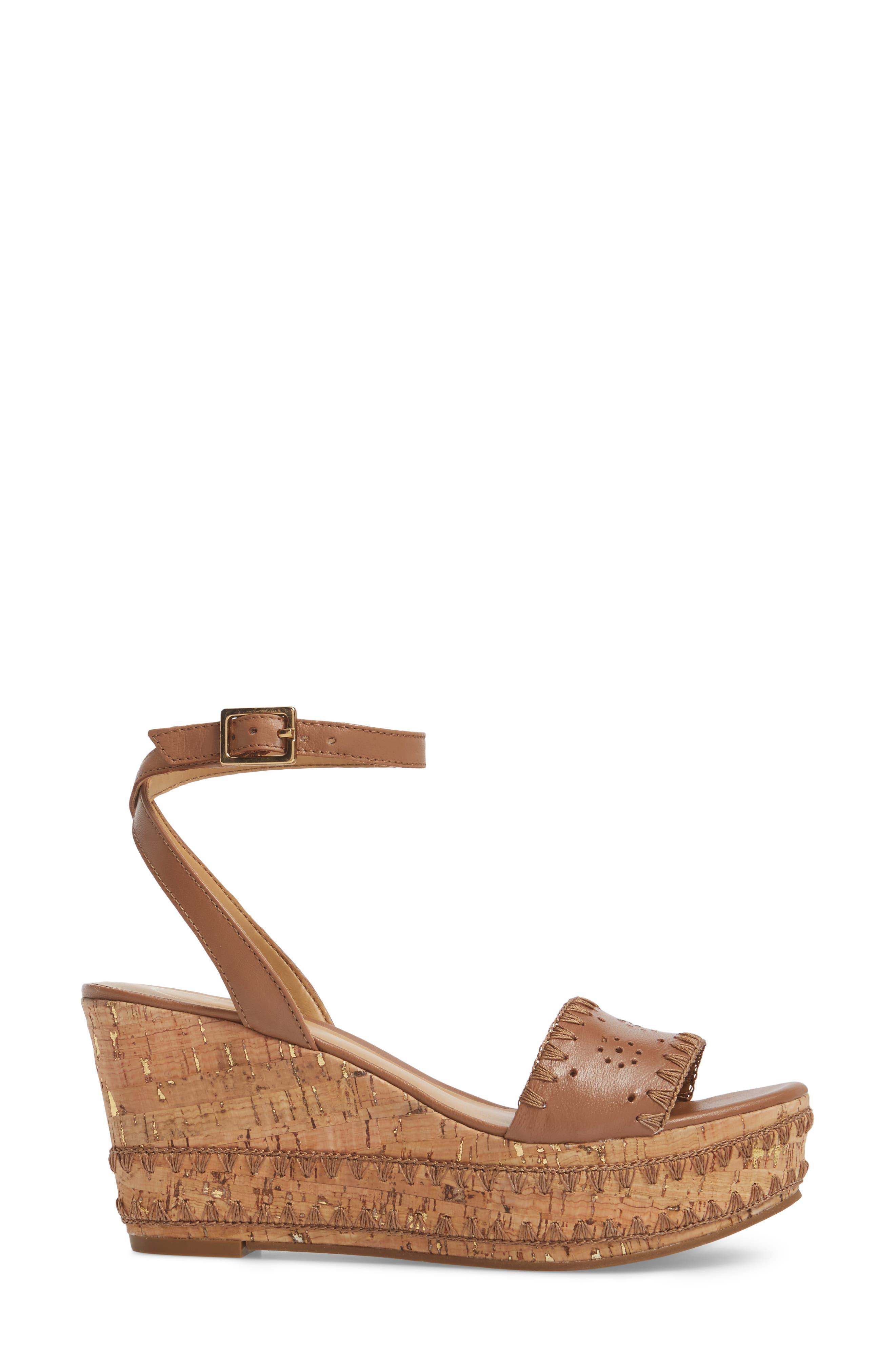 Lennon Platform Wedge Sandal,                             Alternate thumbnail 3, color,                             Cognac Leather