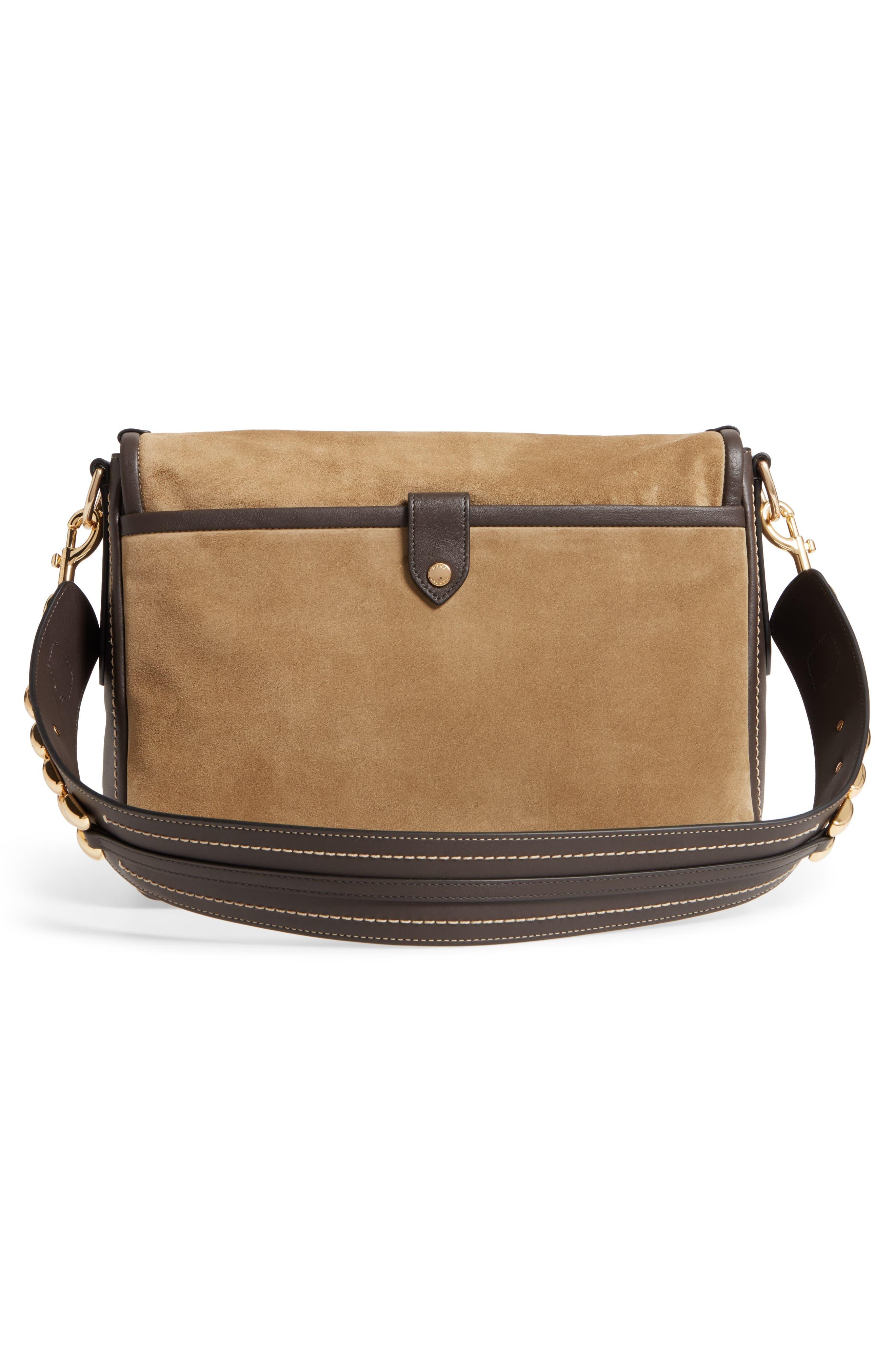 The Squeeze Suede Shoulder Bag,                             Alternate thumbnail 3, color,                             Pyrite