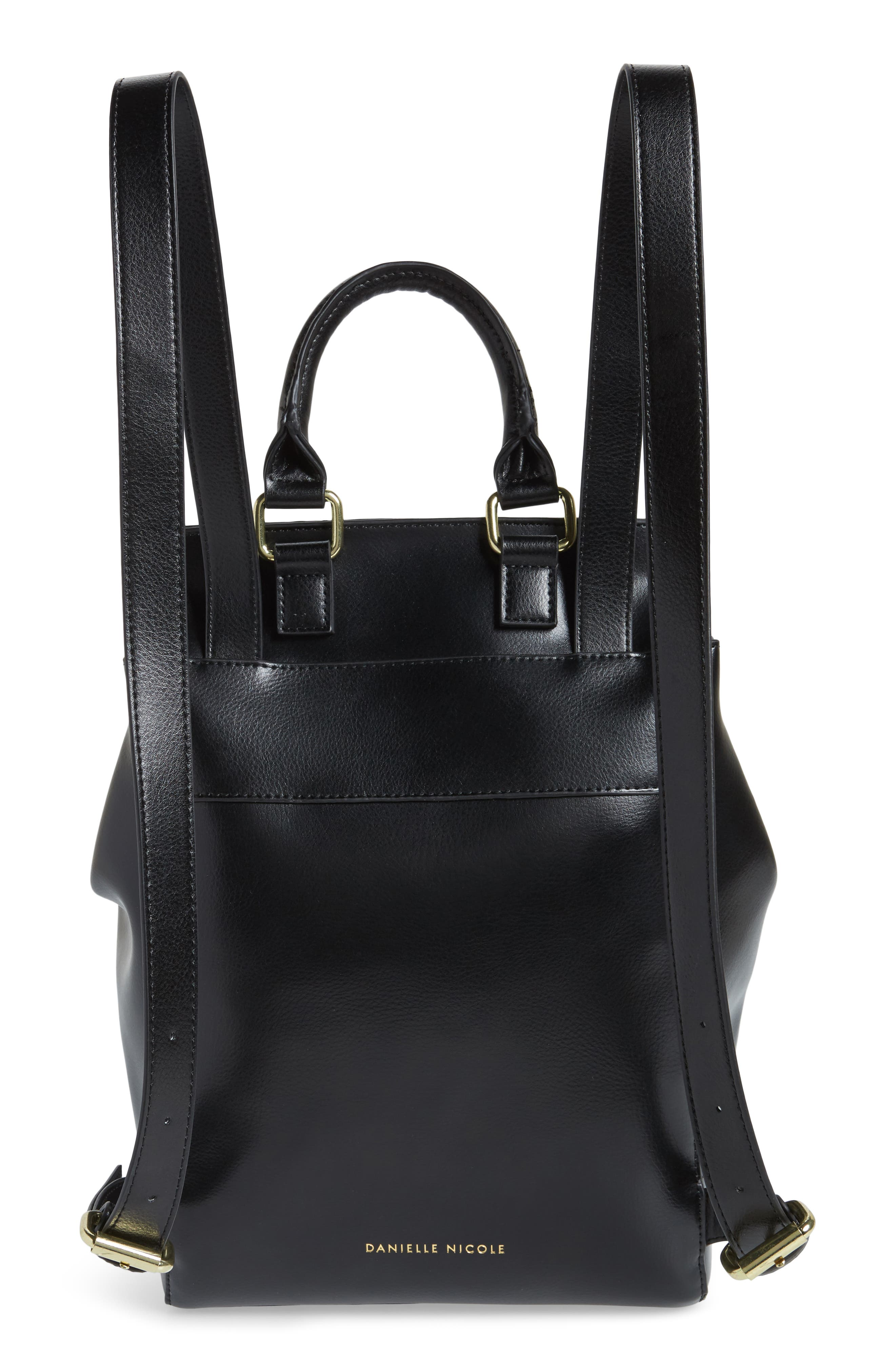 Dylan Leather Backpack,                             Alternate thumbnail 3, color,                             Black