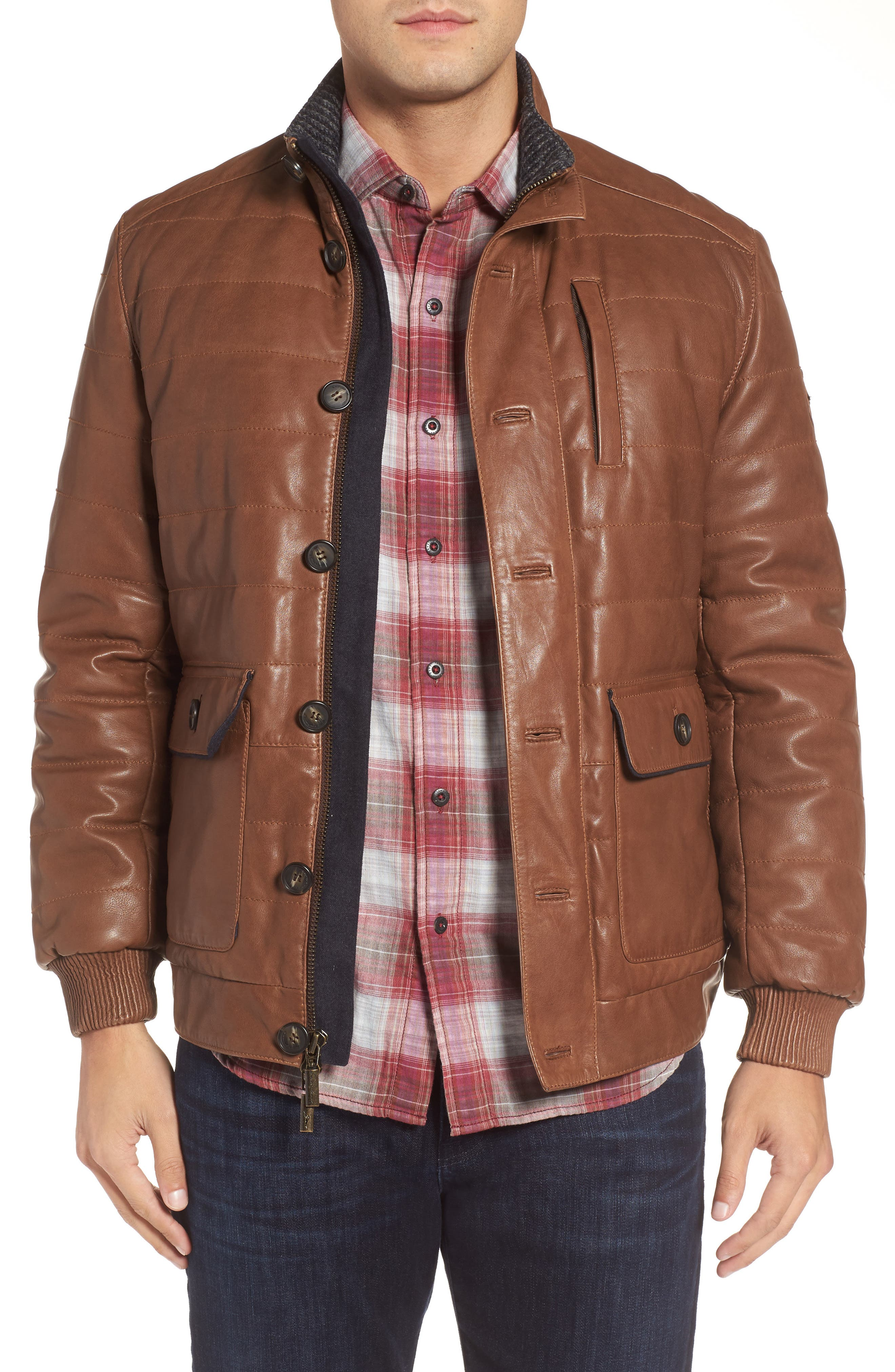 Snowside Leather Bomber Jacket,                         Main,                         color, Brown Enough