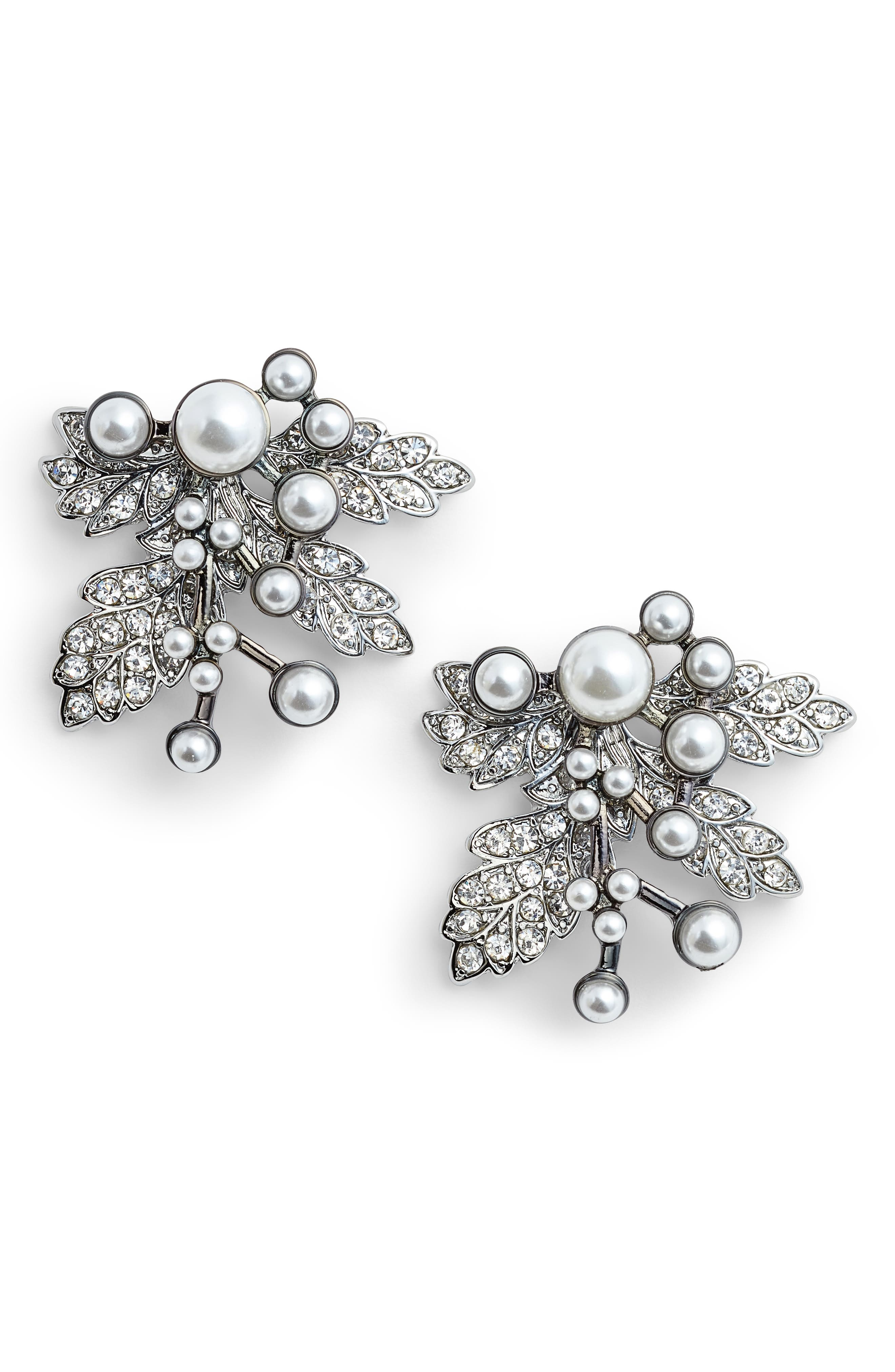 Imitation Pearl Crystal Leaf Earrings,                         Main,                         color, Silver