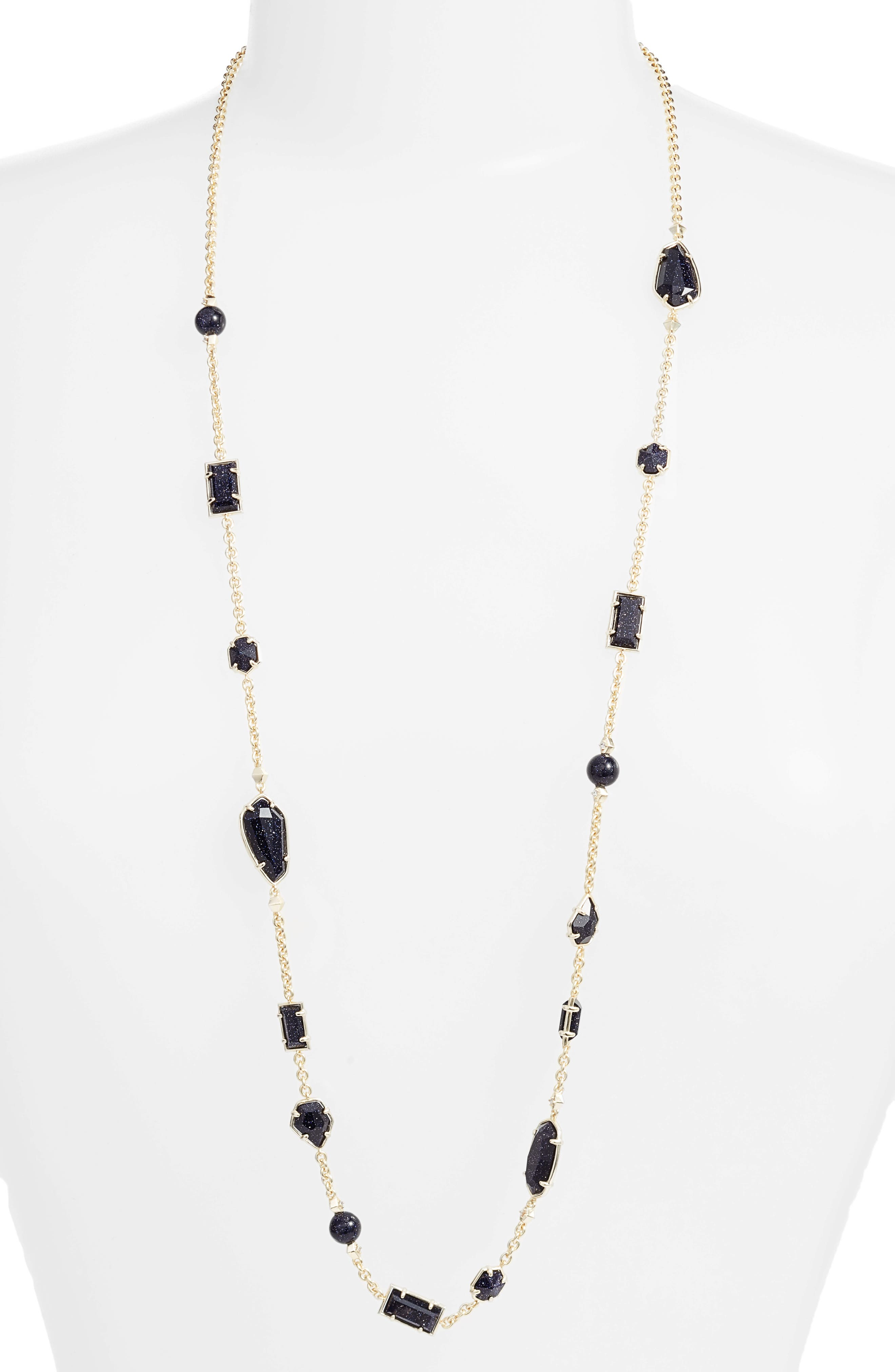Joann Semiprecious Stone Station Necklace,                         Main,                         color, Blue/ Gold