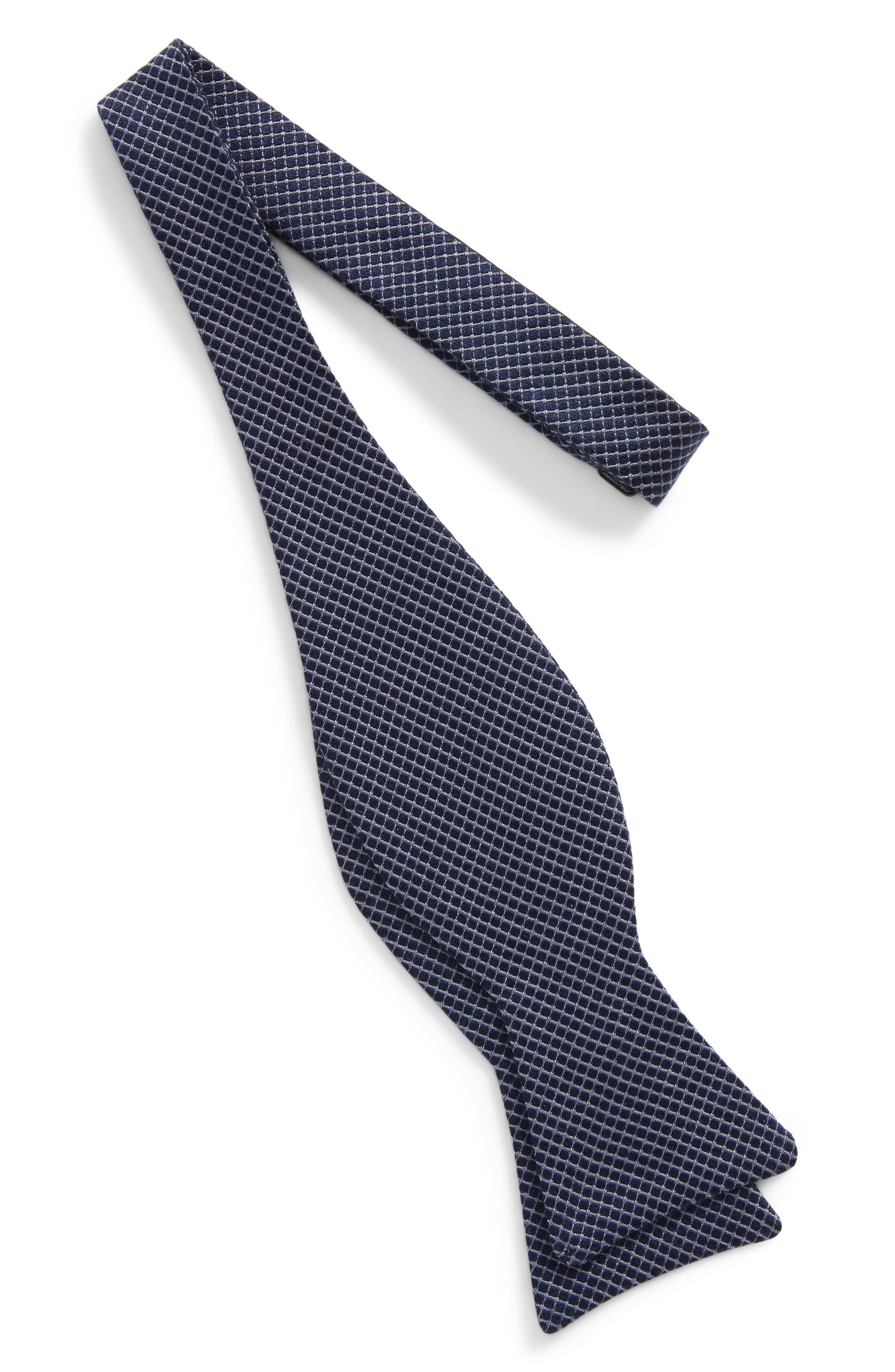 Geometric Silk Bow Tie,                             Alternate thumbnail 3, color,                             Navy