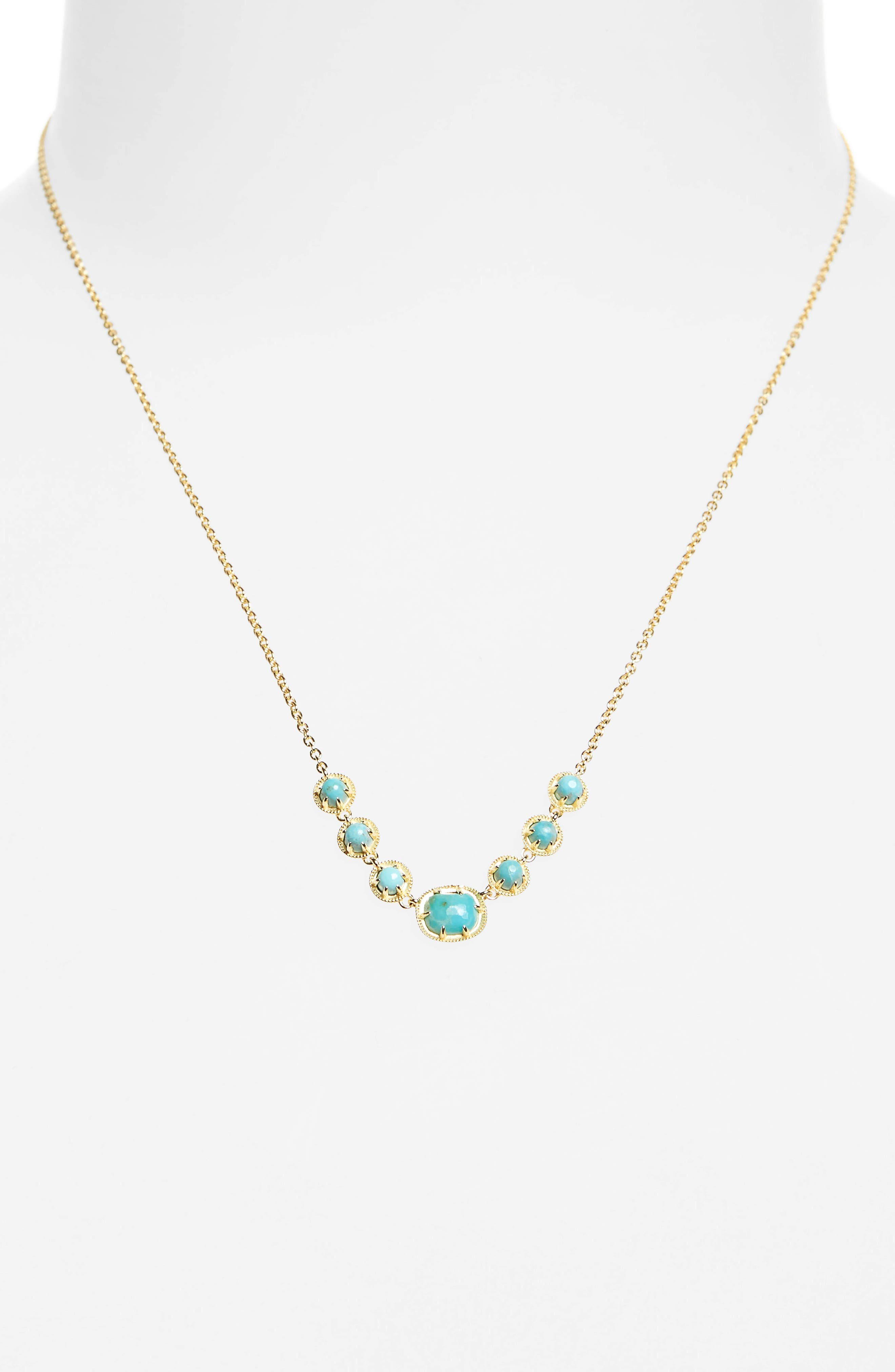 Semiprecious Stone Collar Necklace,                             Alternate thumbnail 2, color,                             Turquoise/ Gold