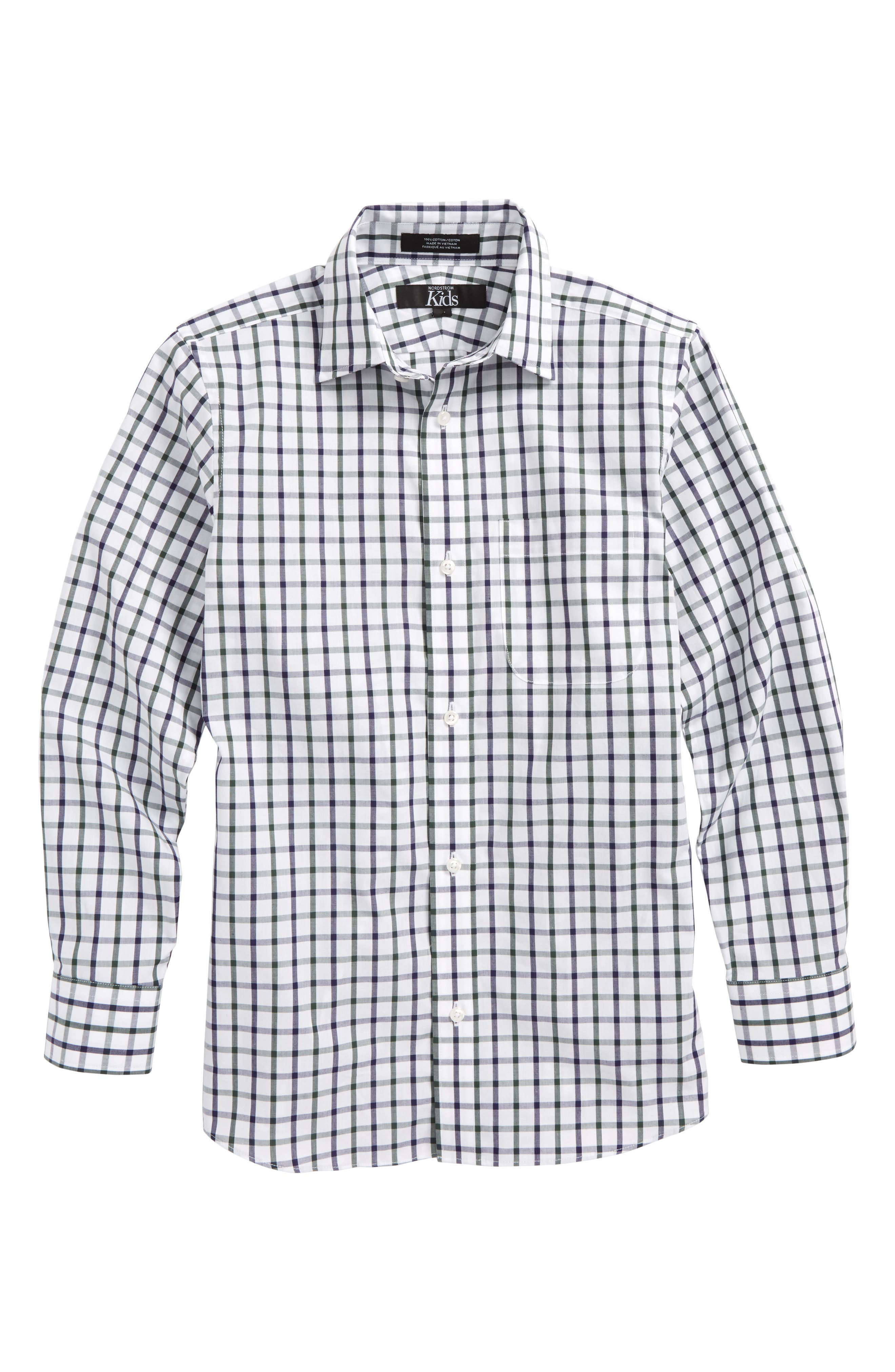Windowpane Plaid Dress Shirt,                             Main thumbnail 1, color,                             White-Navy Plaid