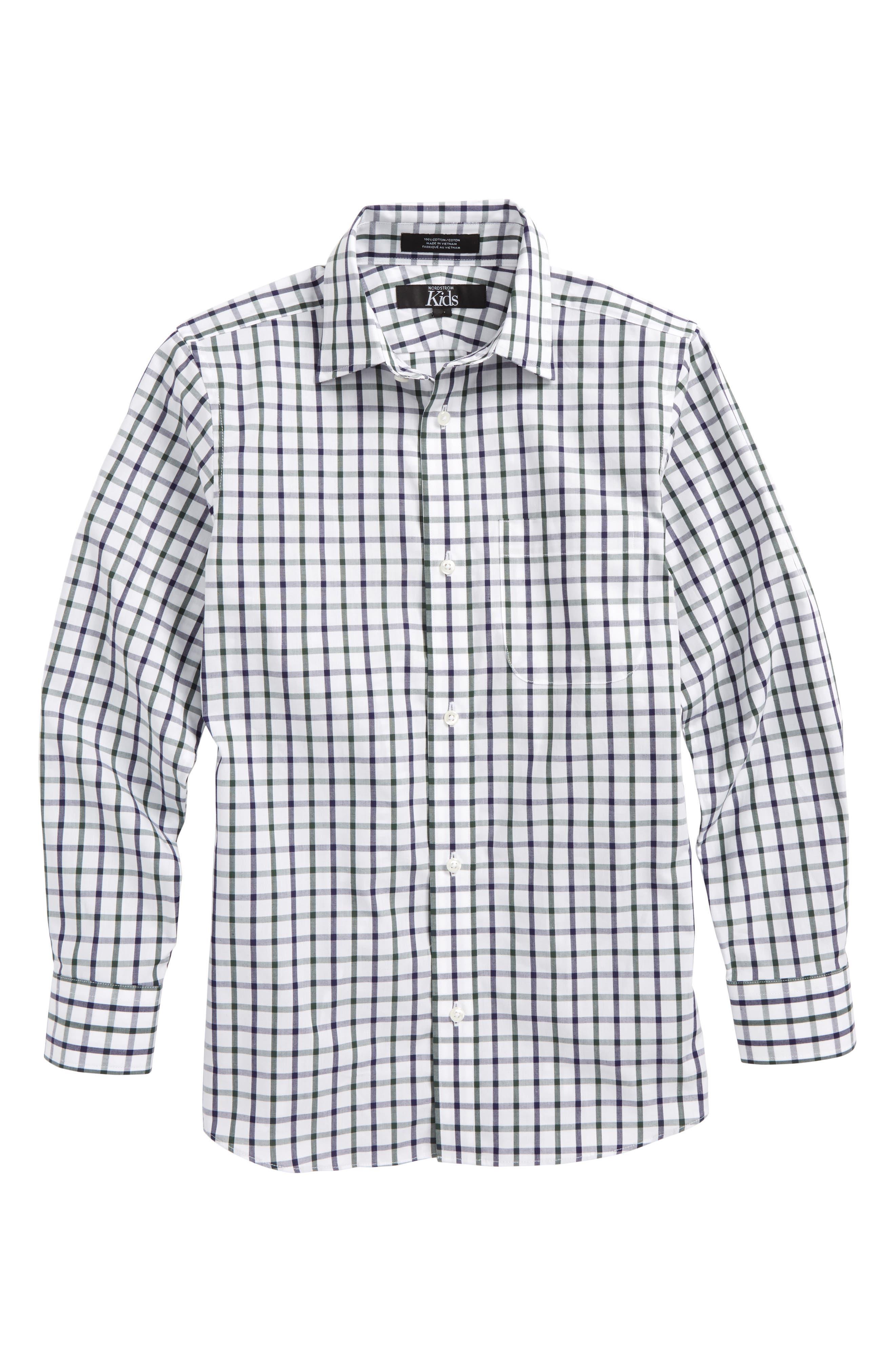Windowpane Plaid Dress Shirt,                         Main,                         color, White-Navy Plaid