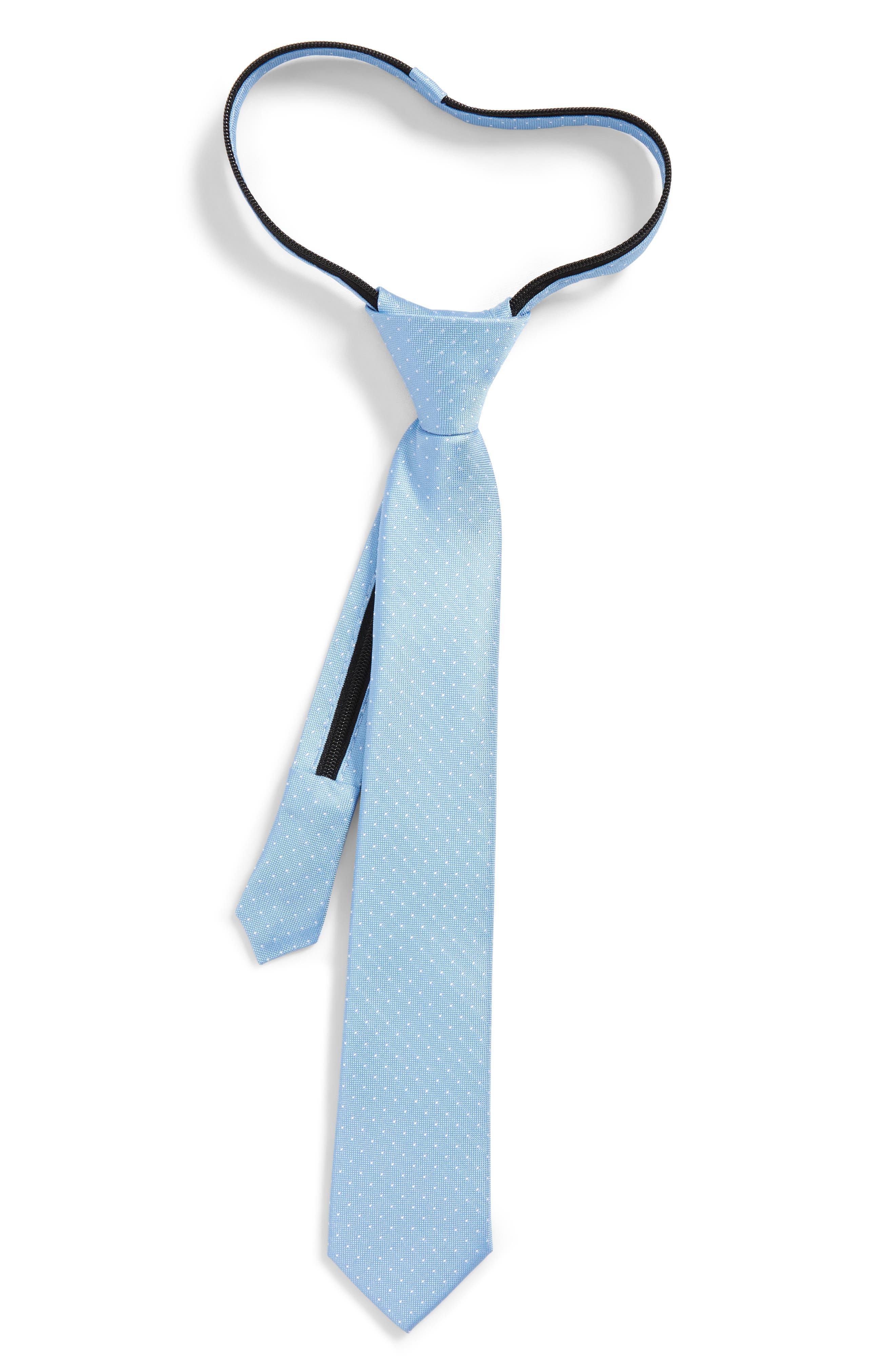 Dot Silk Zip Tie,                             Main thumbnail 1, color,                             Blue