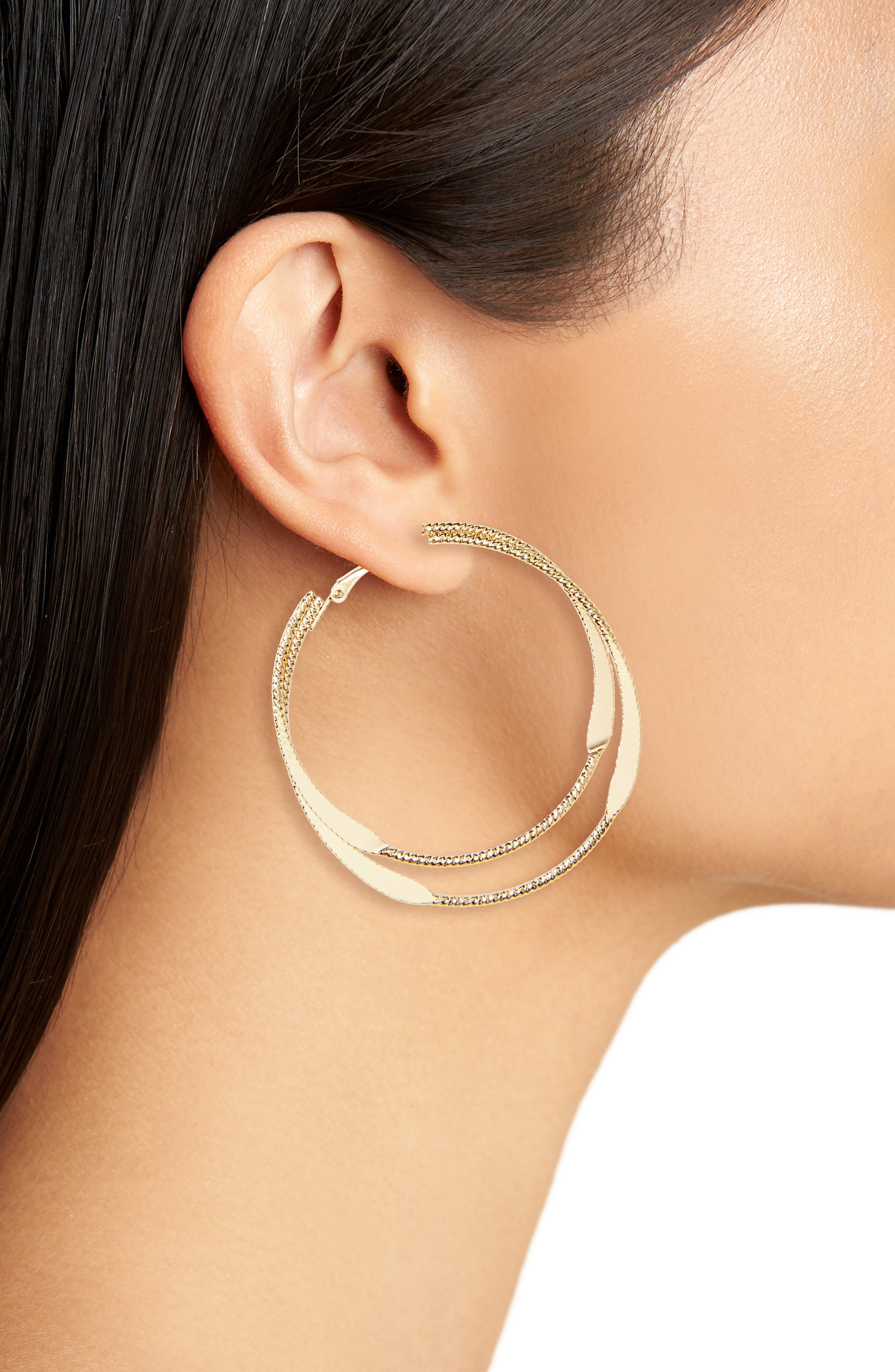 Layered Metal Hoop Earrings,                             Alternate thumbnail 2, color,                             Gold