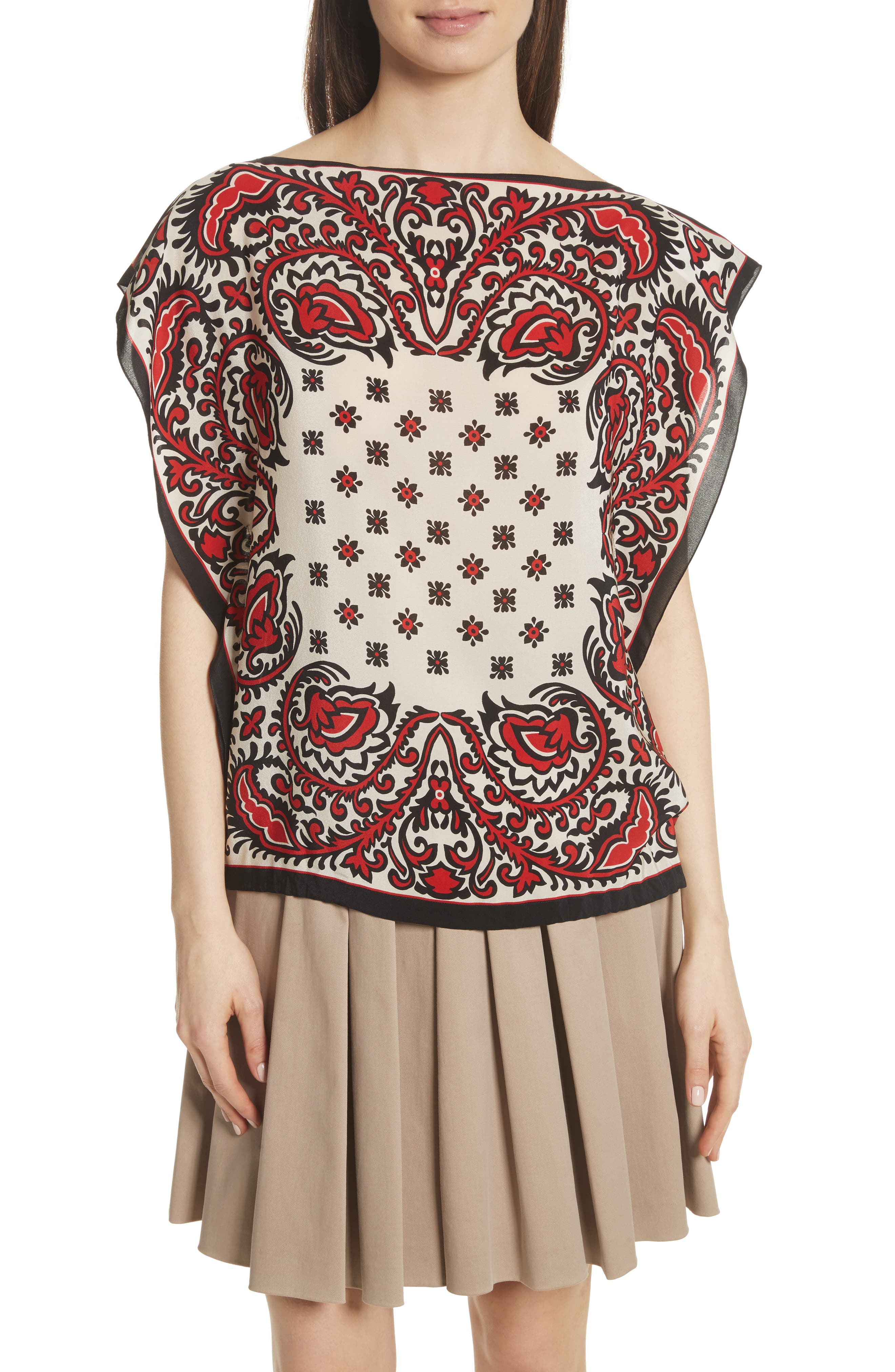 RED Valentino Scarf Print Silk Top
