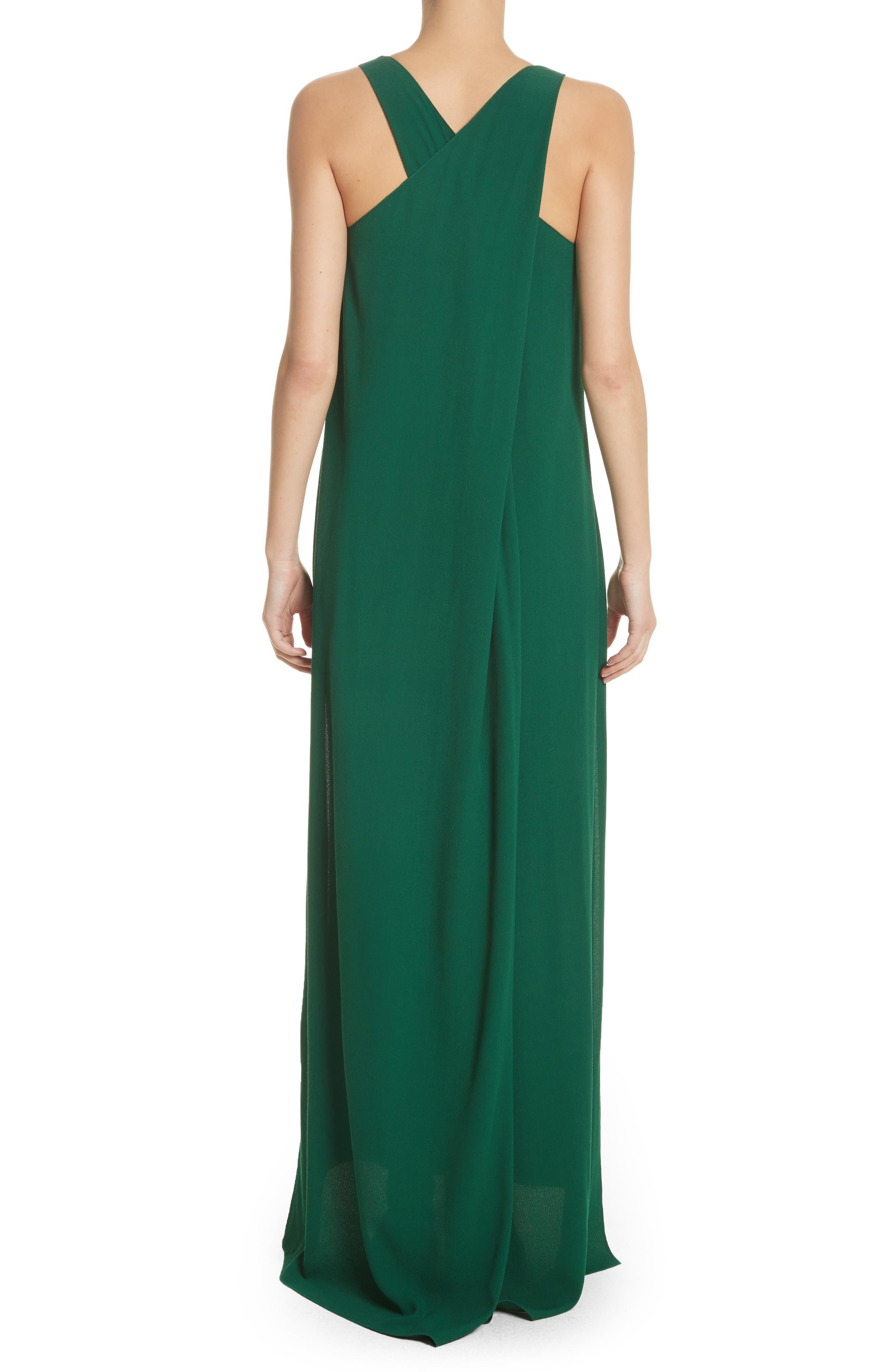 Crepe Cross Back Gown,                             Alternate thumbnail 2, color,                             Emerald