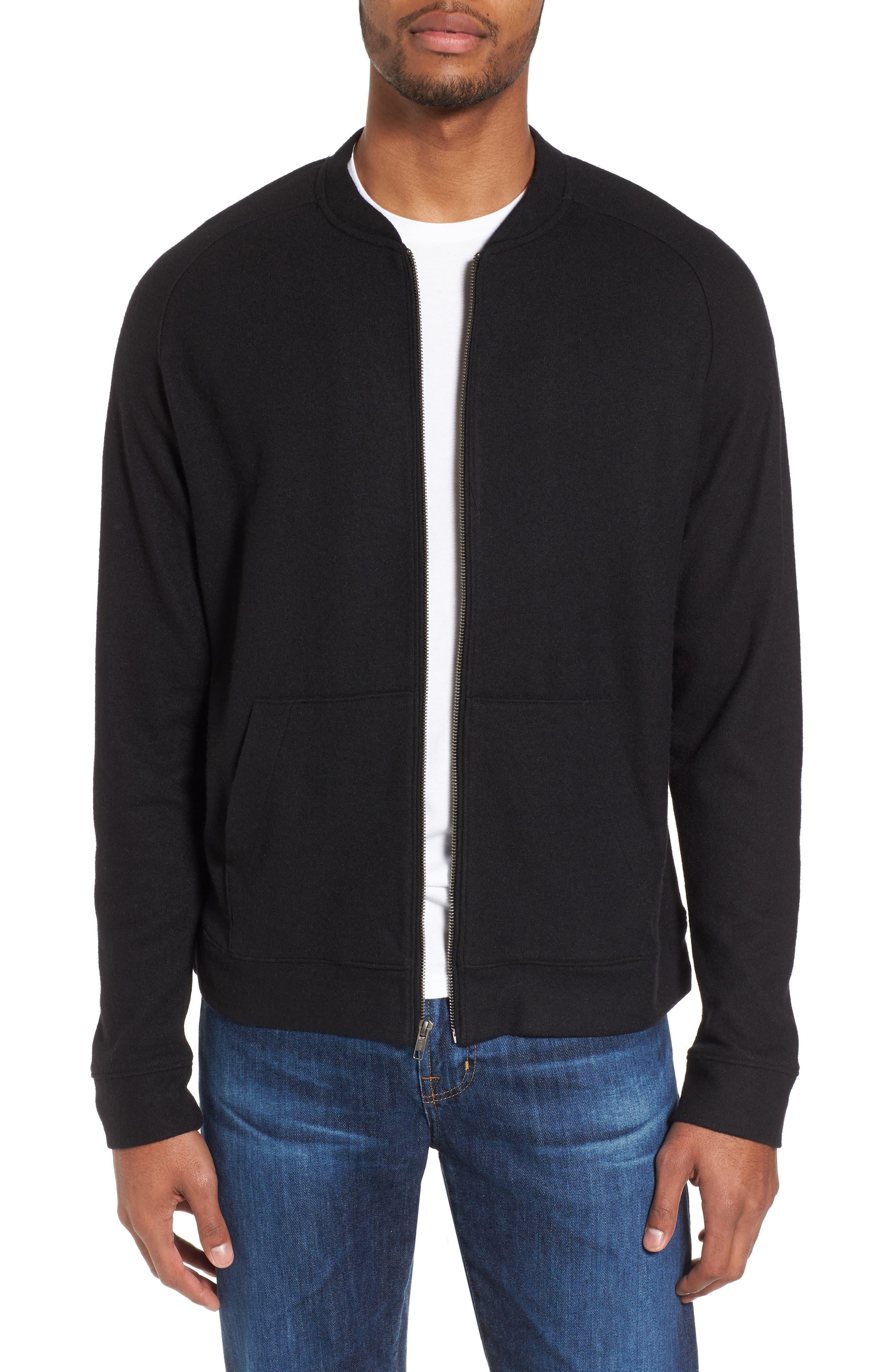 Nordstrom Men's Shop Wool Blend Fleece Bomber Jacket