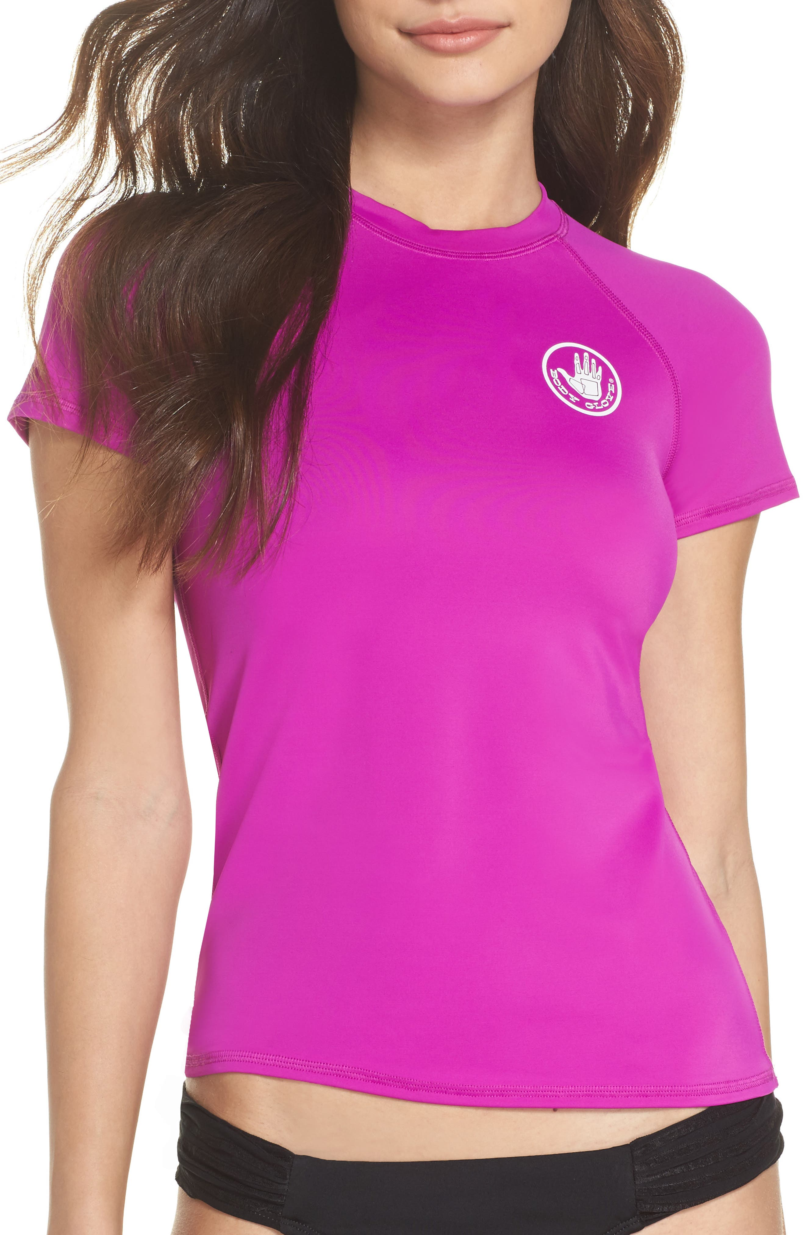 'Smoothies in Motion' Short Sleeve Rashguard,                             Main thumbnail 1, color,                             Magnolia