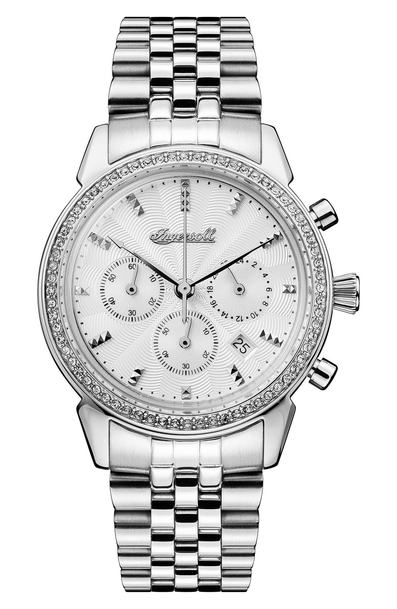 Ingersoll Crystal Accent Chronograph Bracelet Watch, 35mm,                             Main thumbnail 1, color,                             Silver