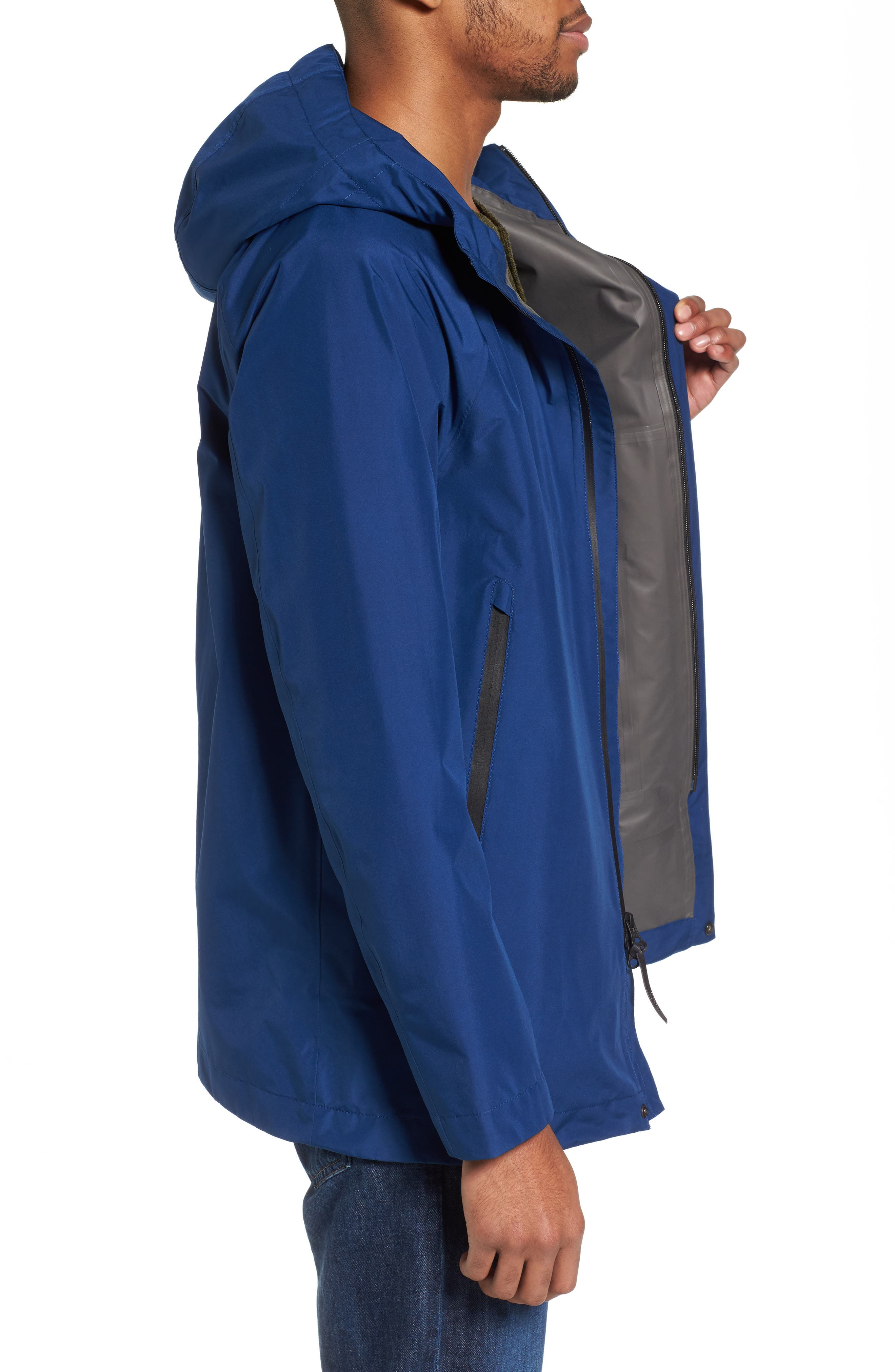 Atlantic Gore-Tex<sup>®</sup> Hooded Coat,                             Alternate thumbnail 3, color,                             Active Blue Ace