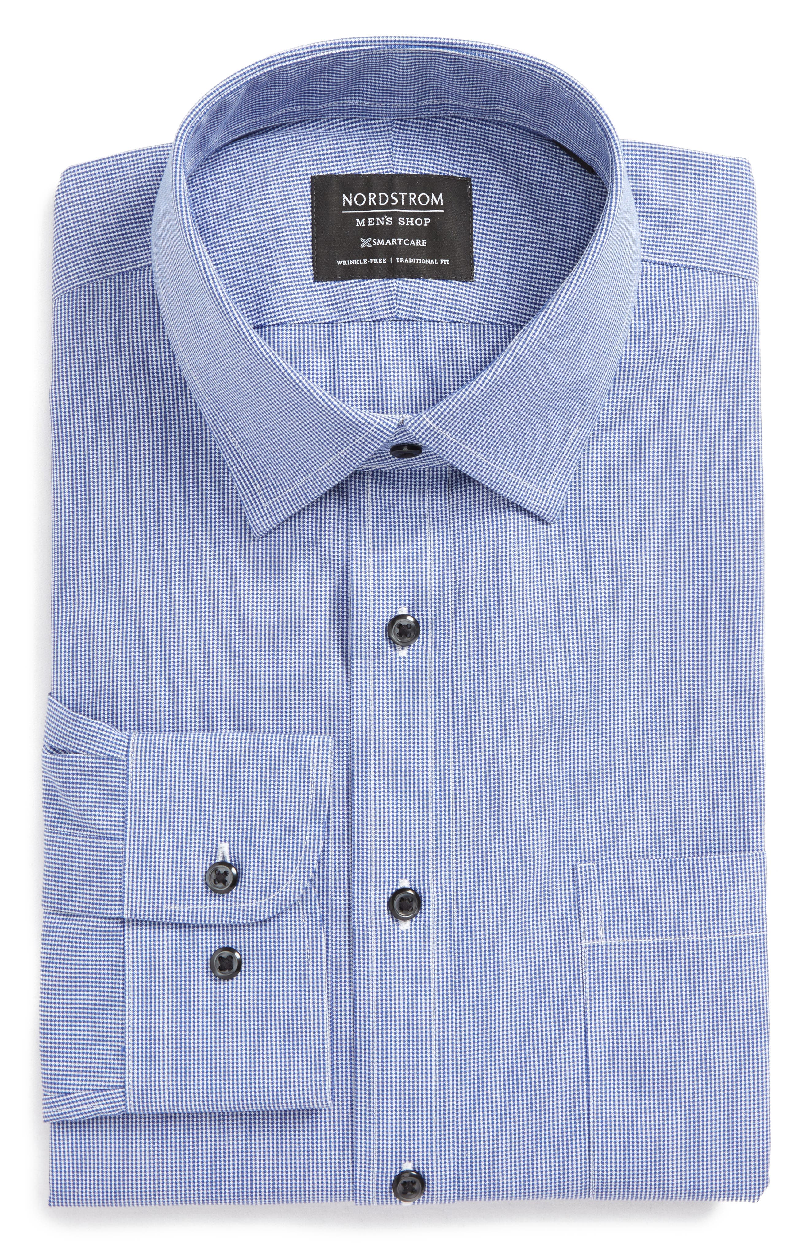 Smartcare<sup>™</sup> Traditional Fit Micro Check Dress Shirt,                             Alternate thumbnail 6, color,                             Blue Marine