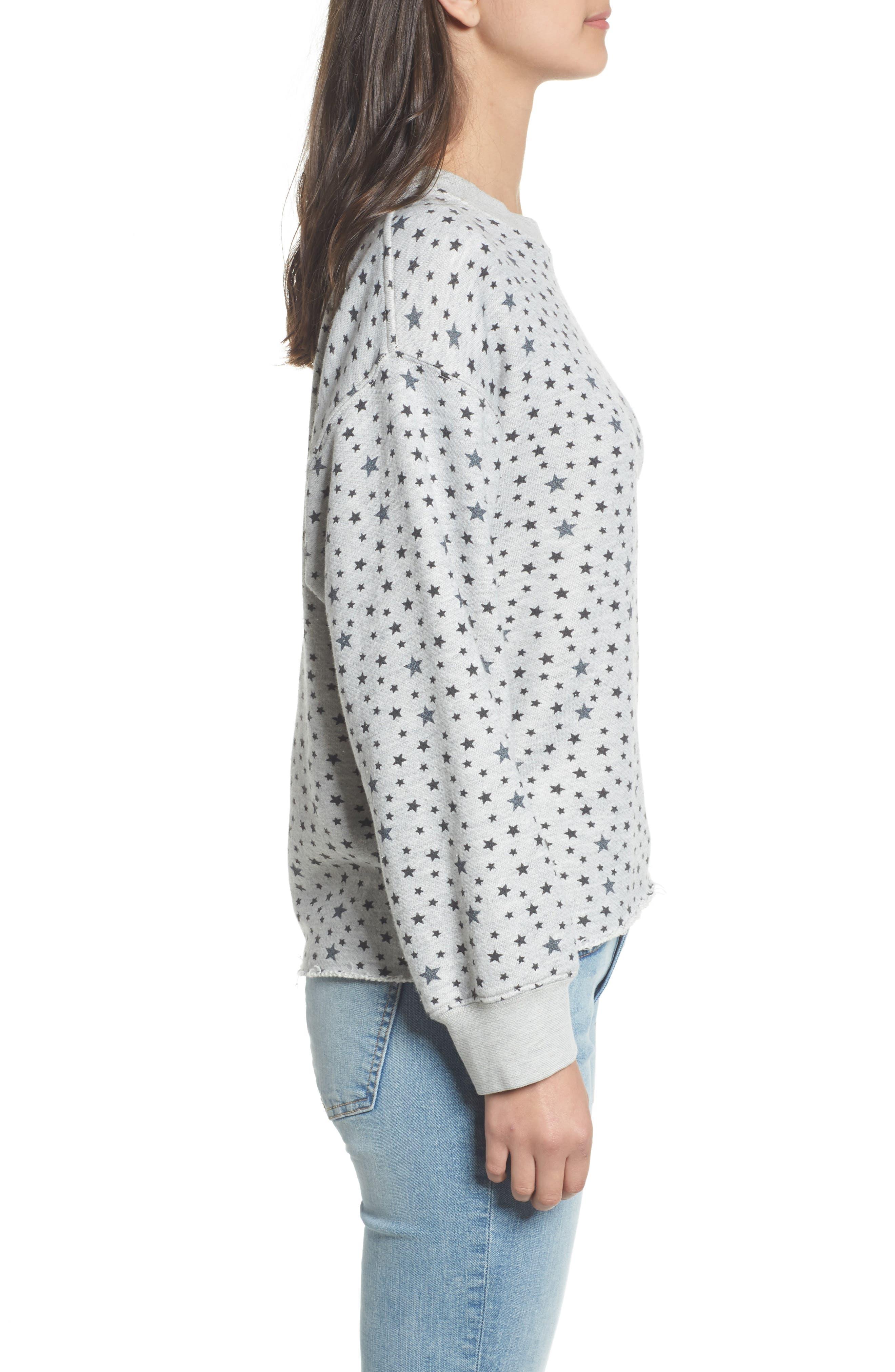 The Slouchy Crop Sweatshirt,                             Alternate thumbnail 3, color,                             Mixed Star Print