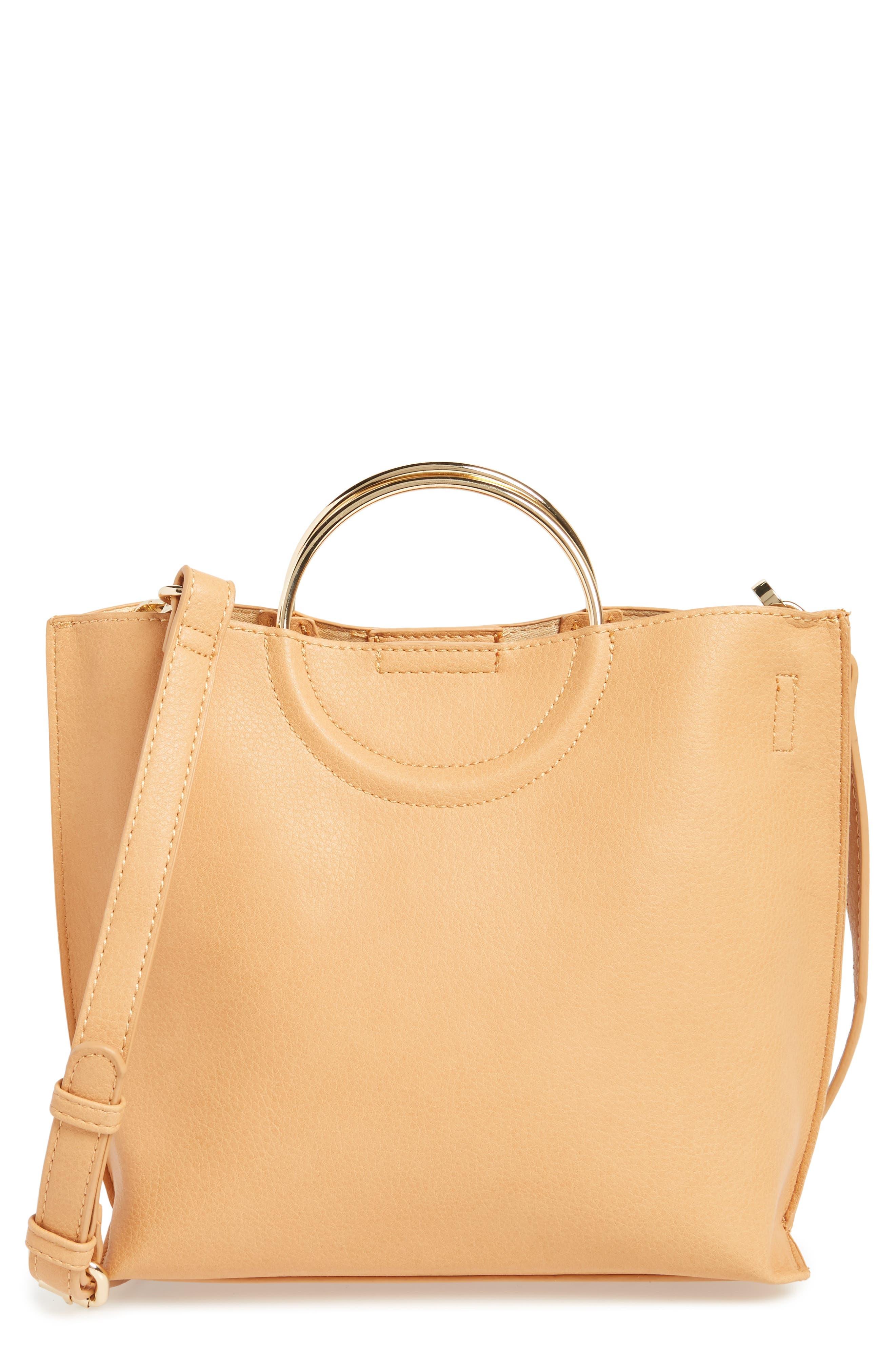 Main Image - BP. Metal Handle Faux Leather Crossbody Bag