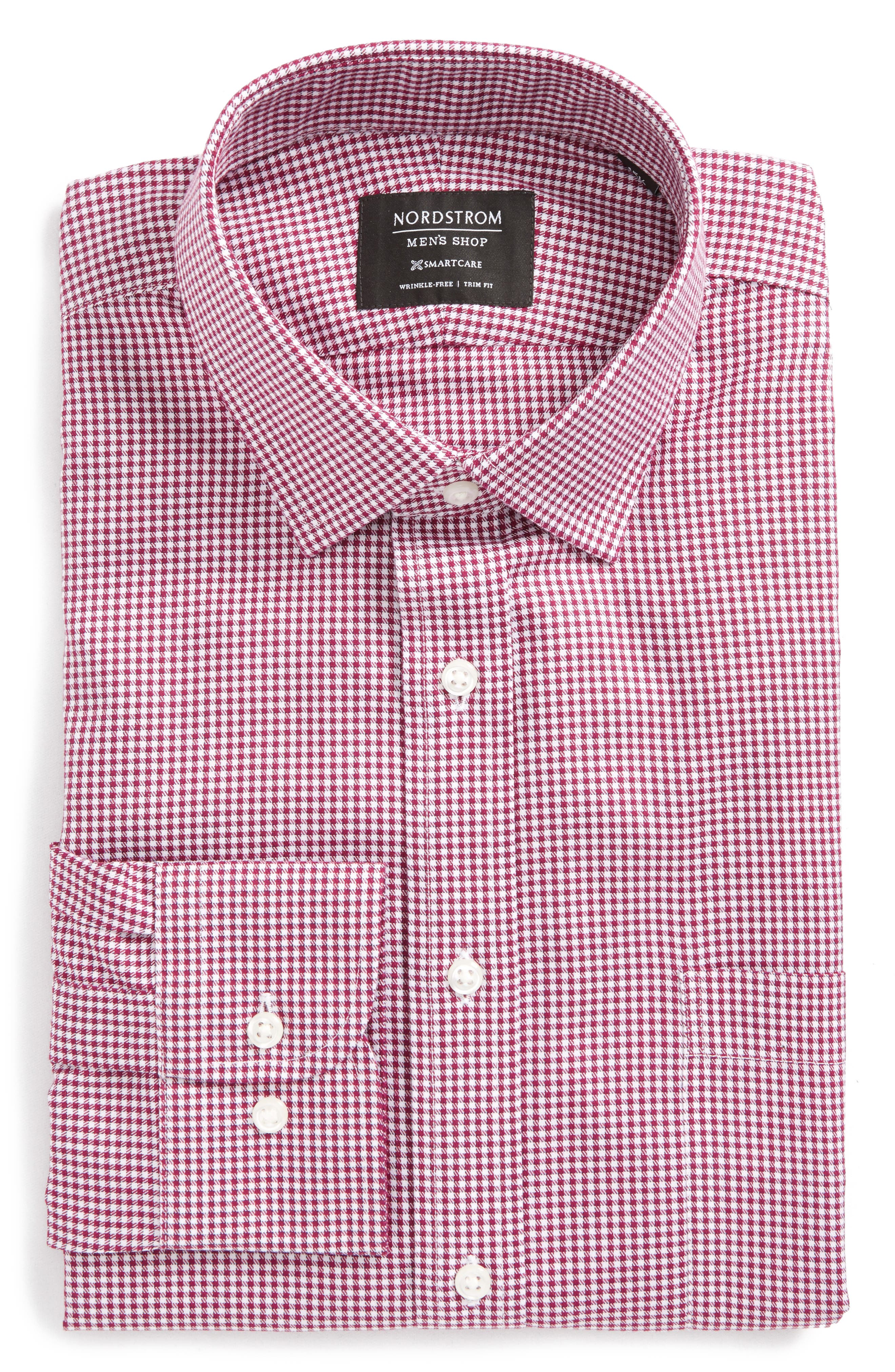 Smartcare<sup>™</sup> Trim Fit Mini Check Dress Shirt,                             Alternate thumbnail 6, color,                             Purple Boysen
