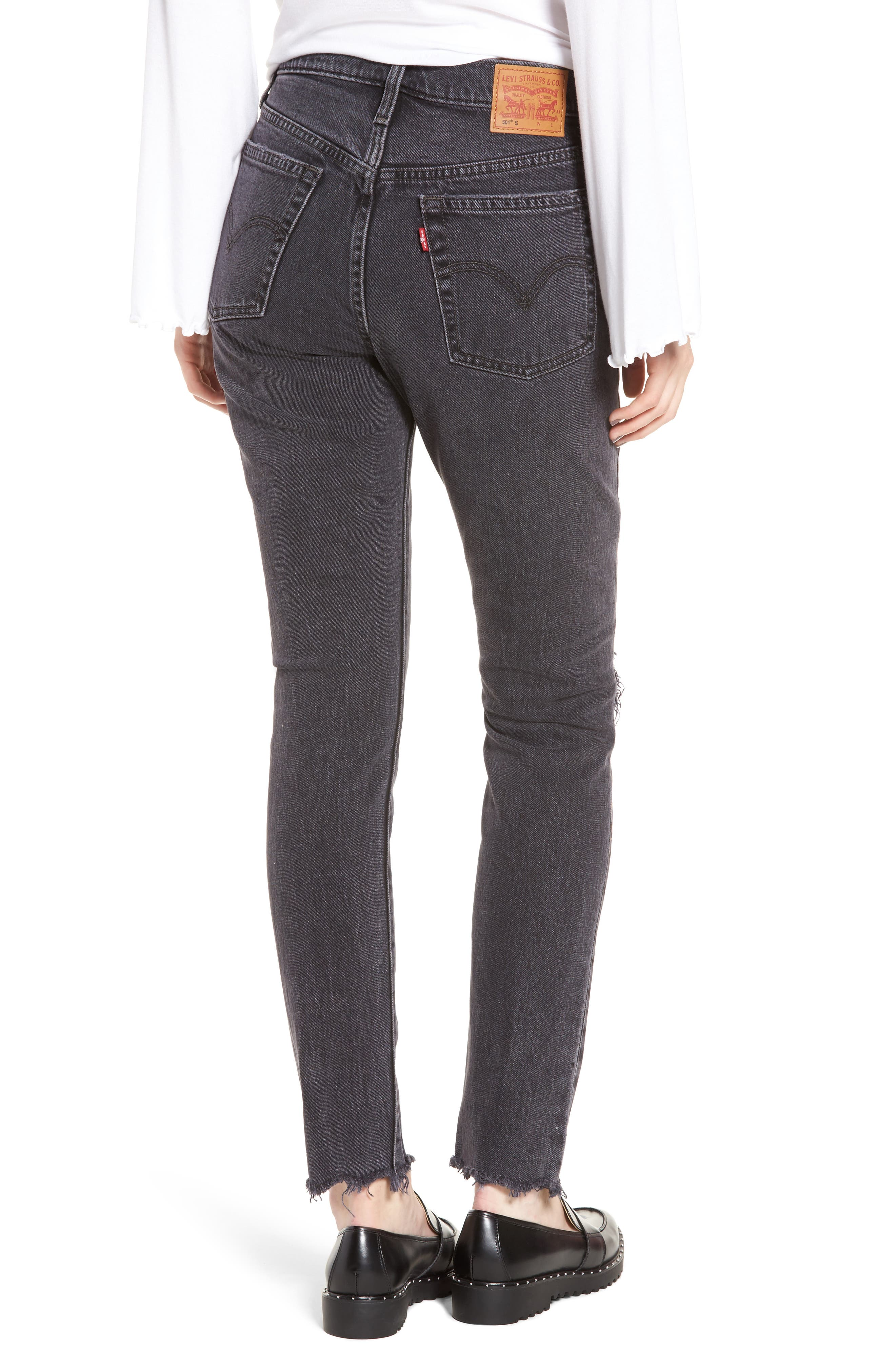 501<sup>®</sup> High Waist Ripped Skinny Jeans,                             Alternate thumbnail 2, color,                             Well Worn Black