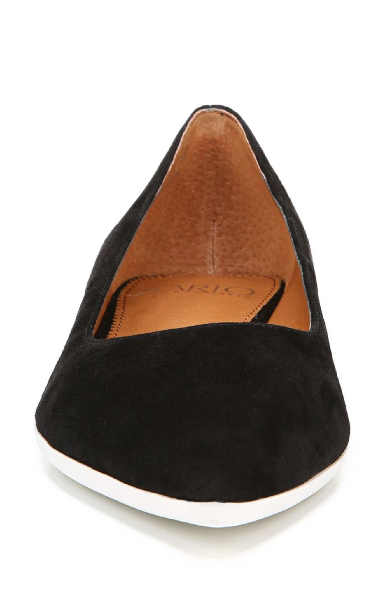 Dexie Pointy Toe Flat,                             Alternate thumbnail 7, color,                             Black Suede