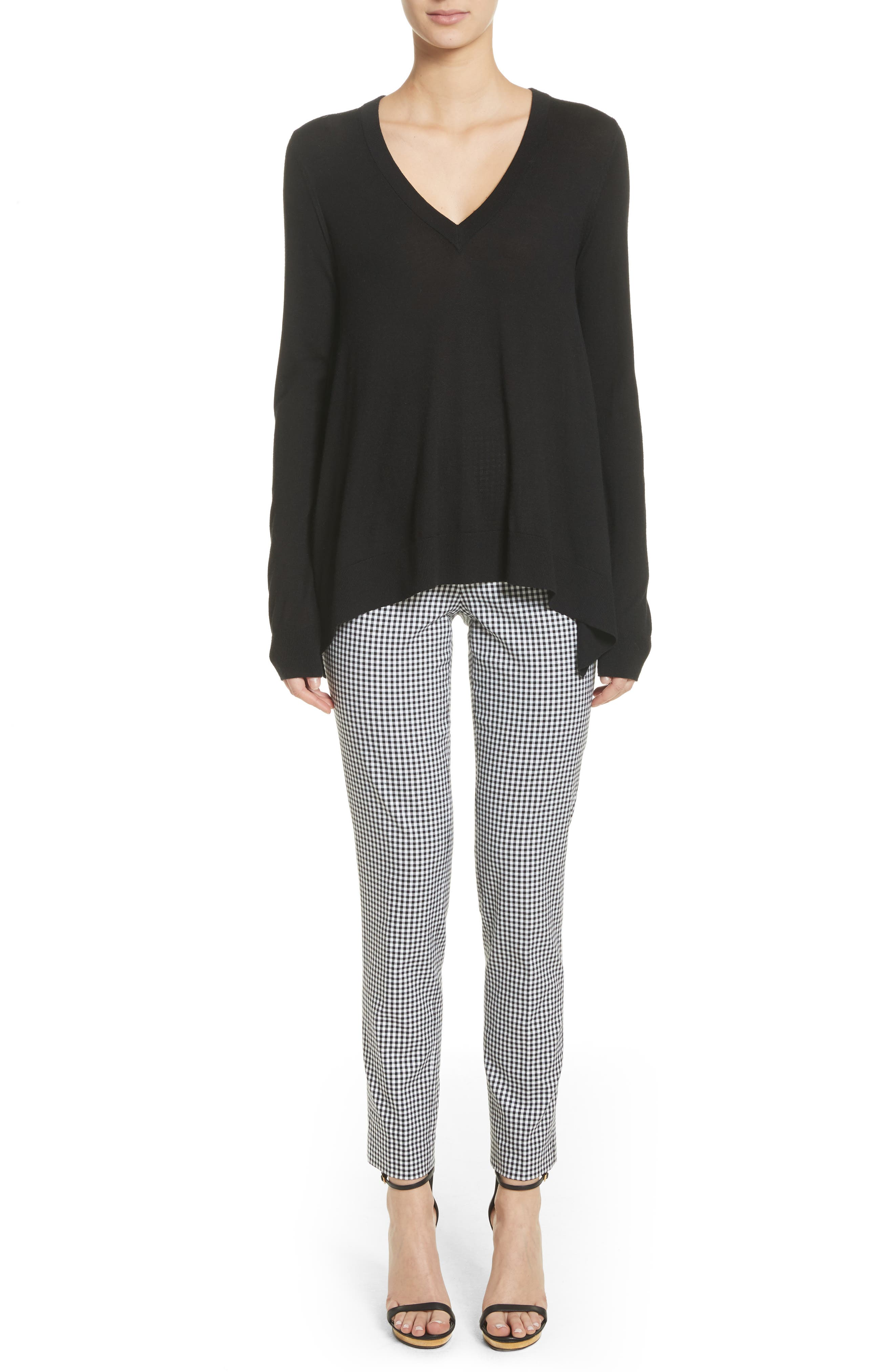 Gingham Stretch Cotton Pants,                             Alternate thumbnail 2, color,                             Black / White