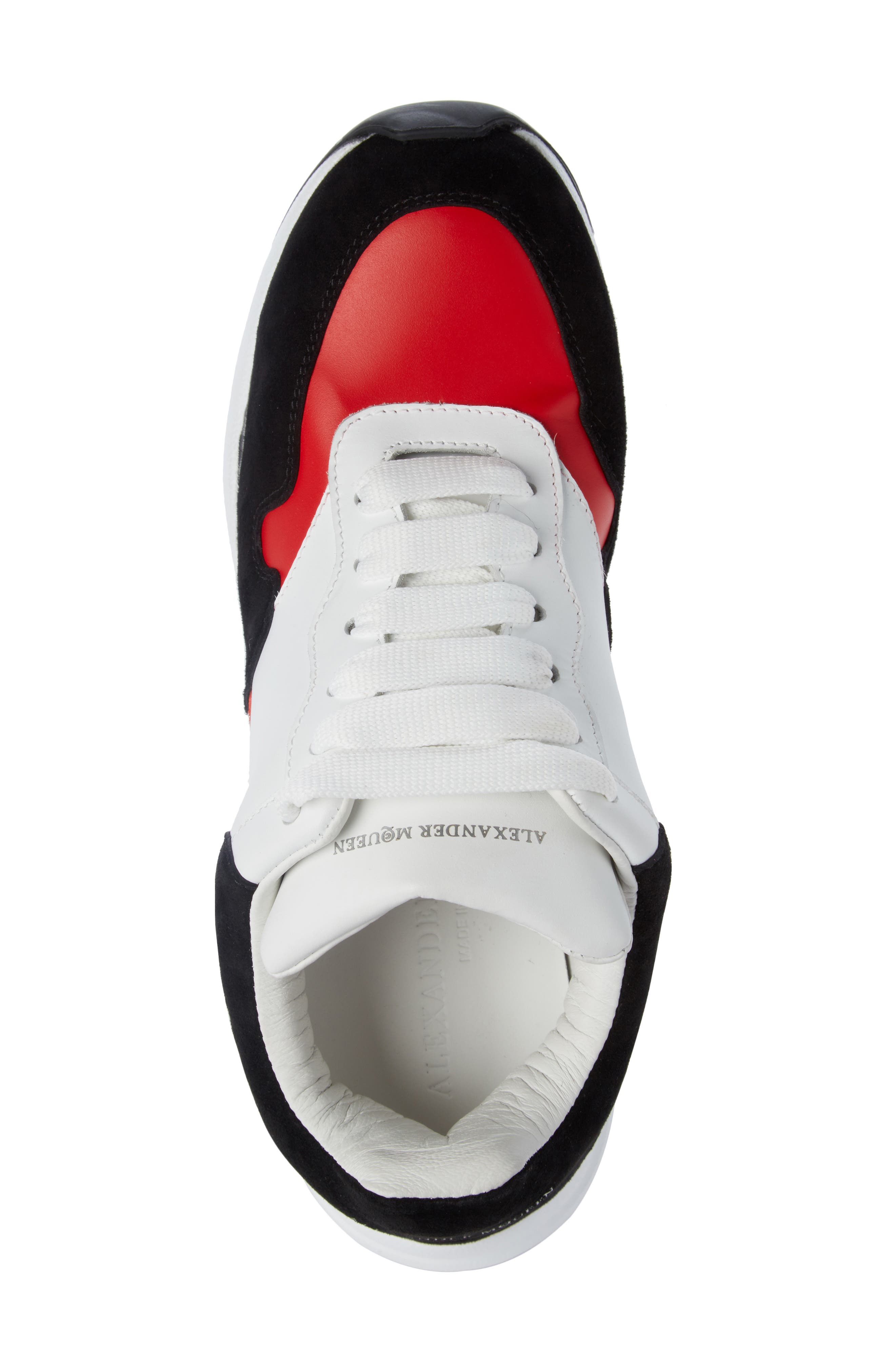 Runner Lace-Up Sneaker,                             Alternate thumbnail 4, color,                             Black/ Red/ White