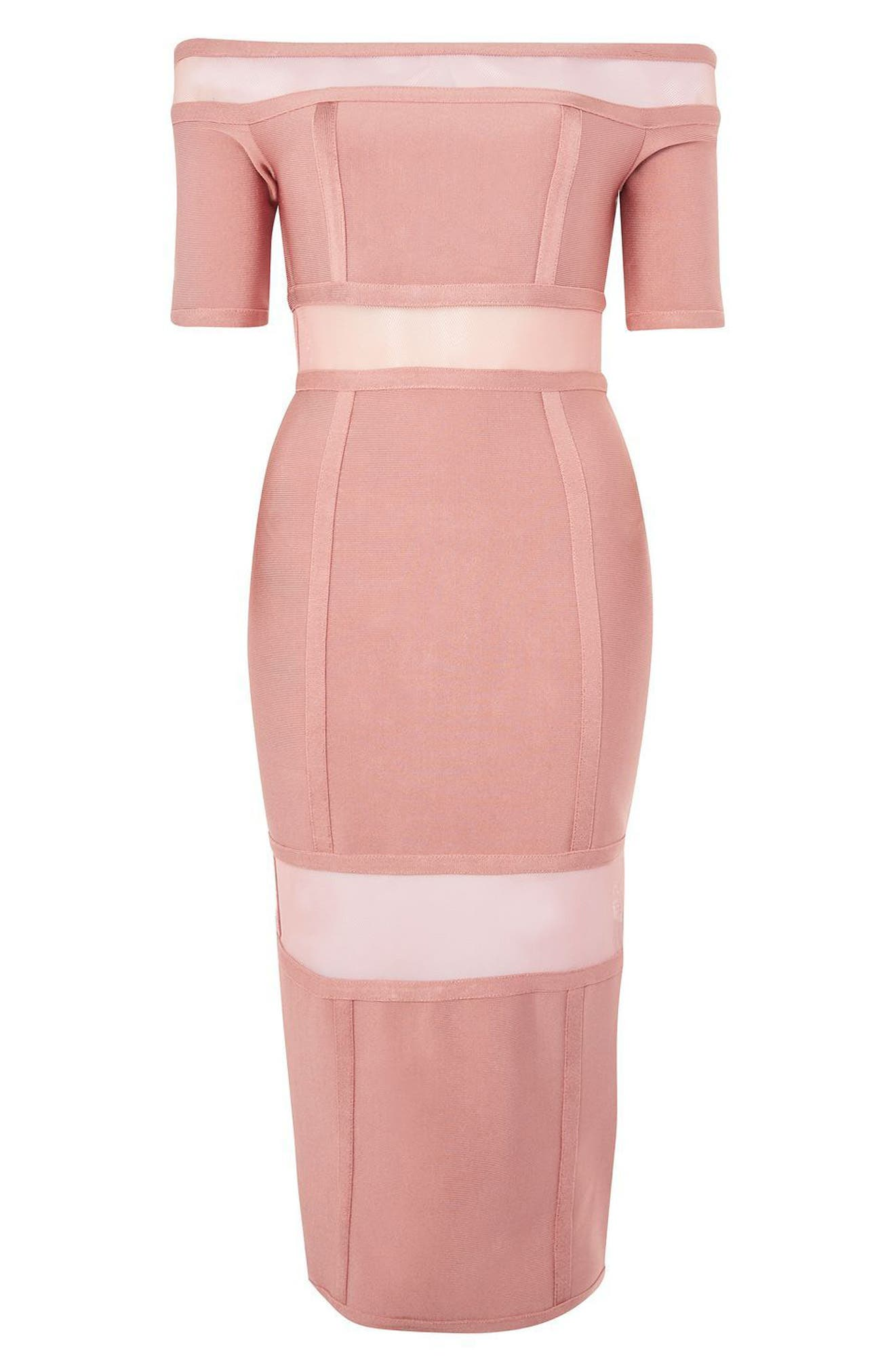 Sheer Panel Off the Shoulder Body-Con Midi Dress,                             Alternate thumbnail 3, color,                             Pink