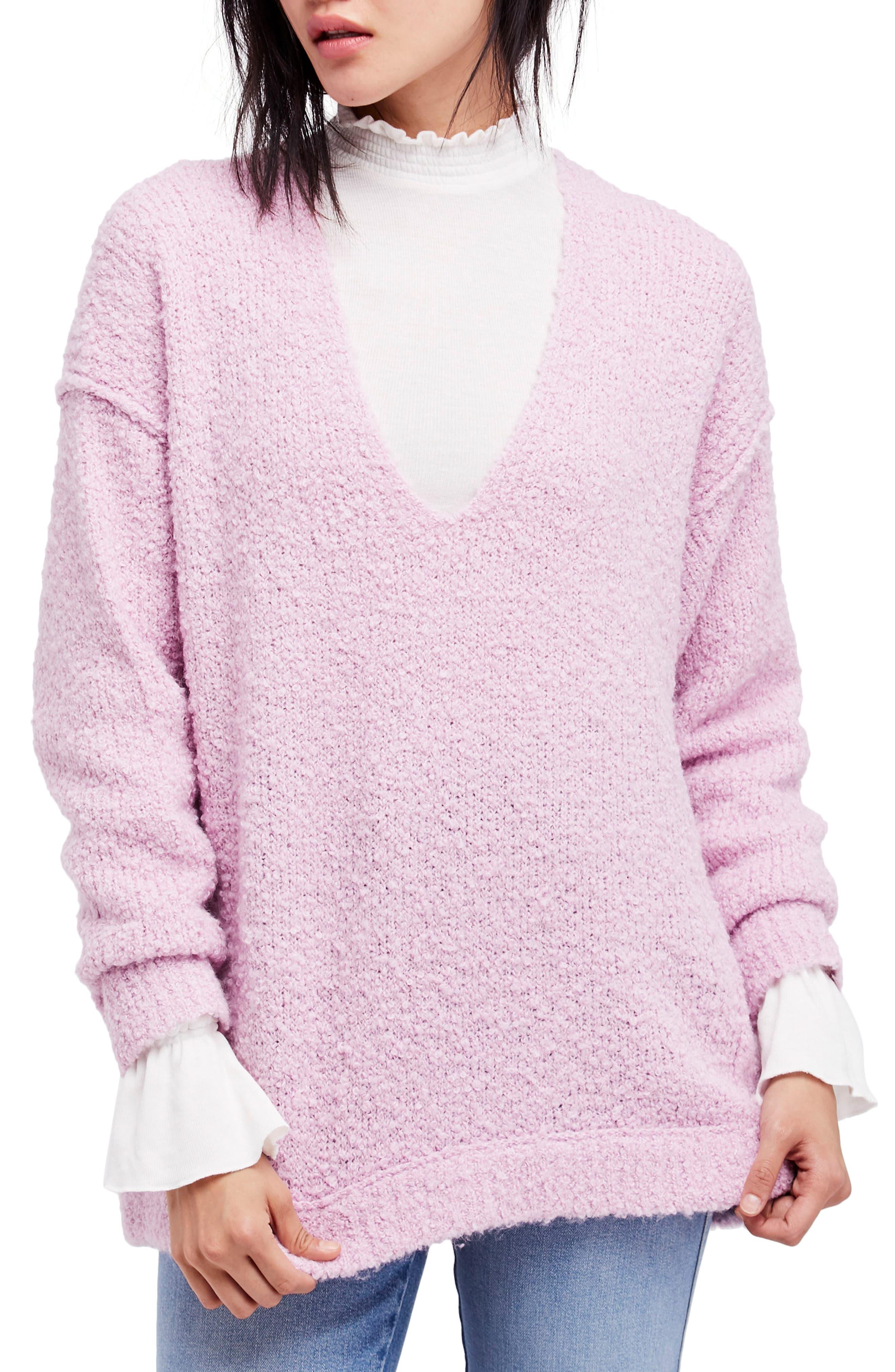 Lofty V-Neck Sweater,                         Main,                         color, Light Purple