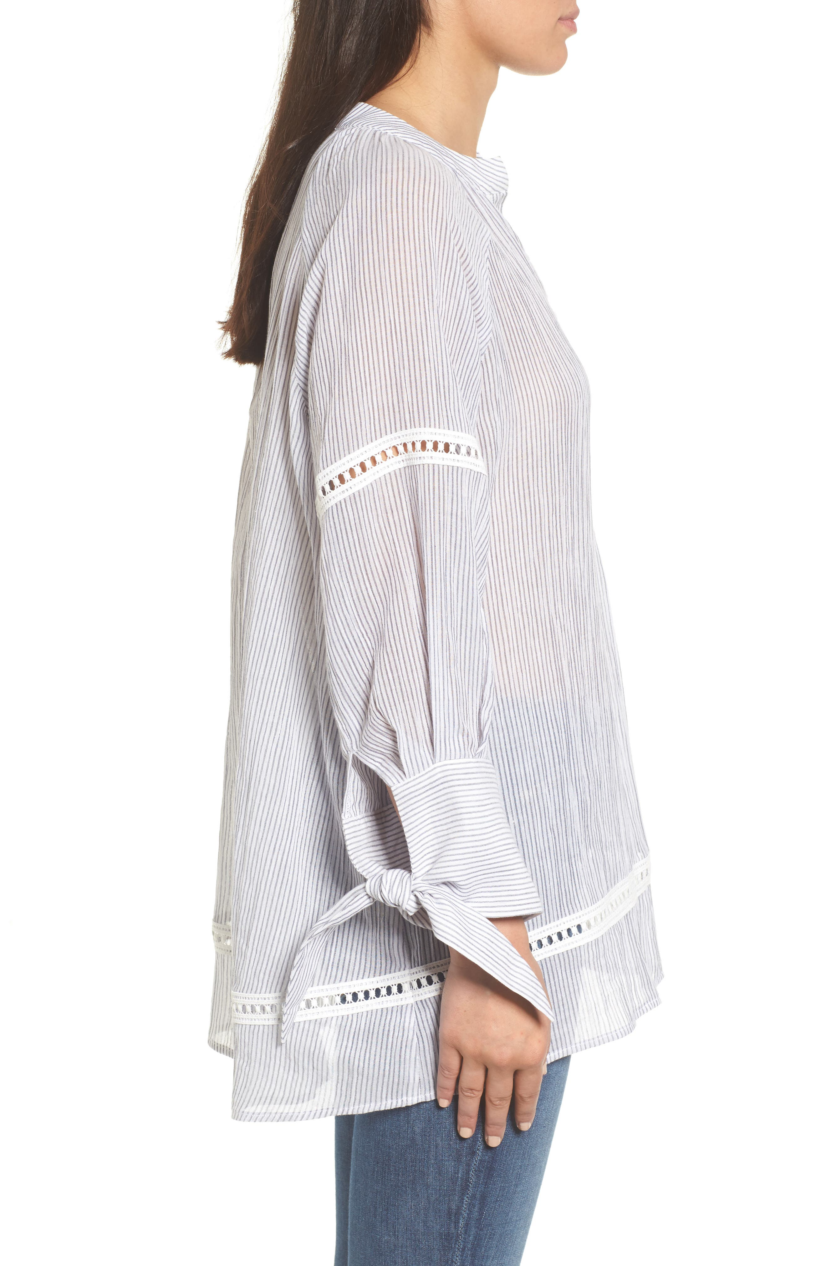 Tie Sleeve Woven Tunic,                             Alternate thumbnail 3, color,                             Navy- White Stripe