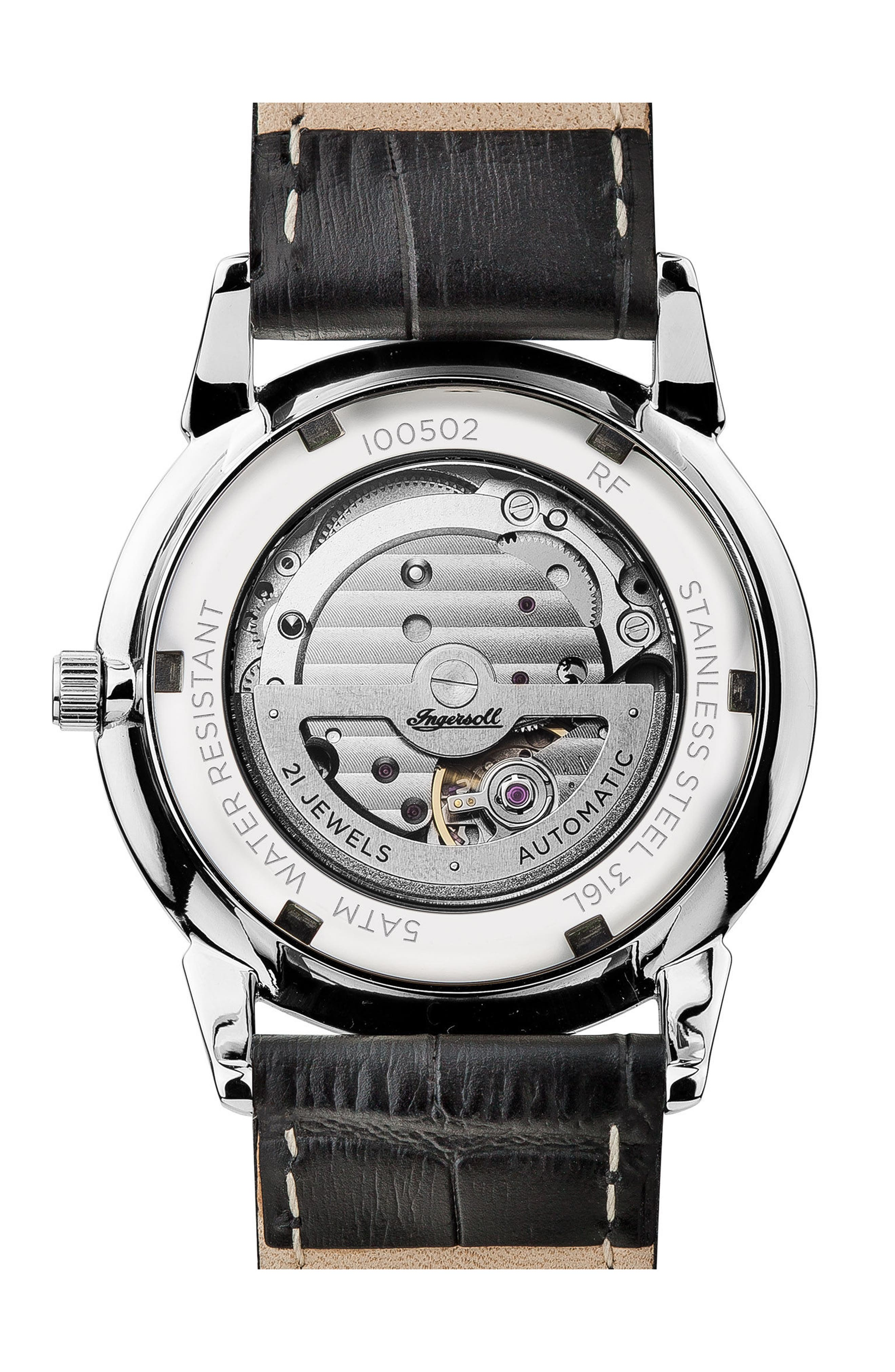 Alternate Image 2  - Ingersoll New Haven Automatic Leather Strap Watch, 40mm