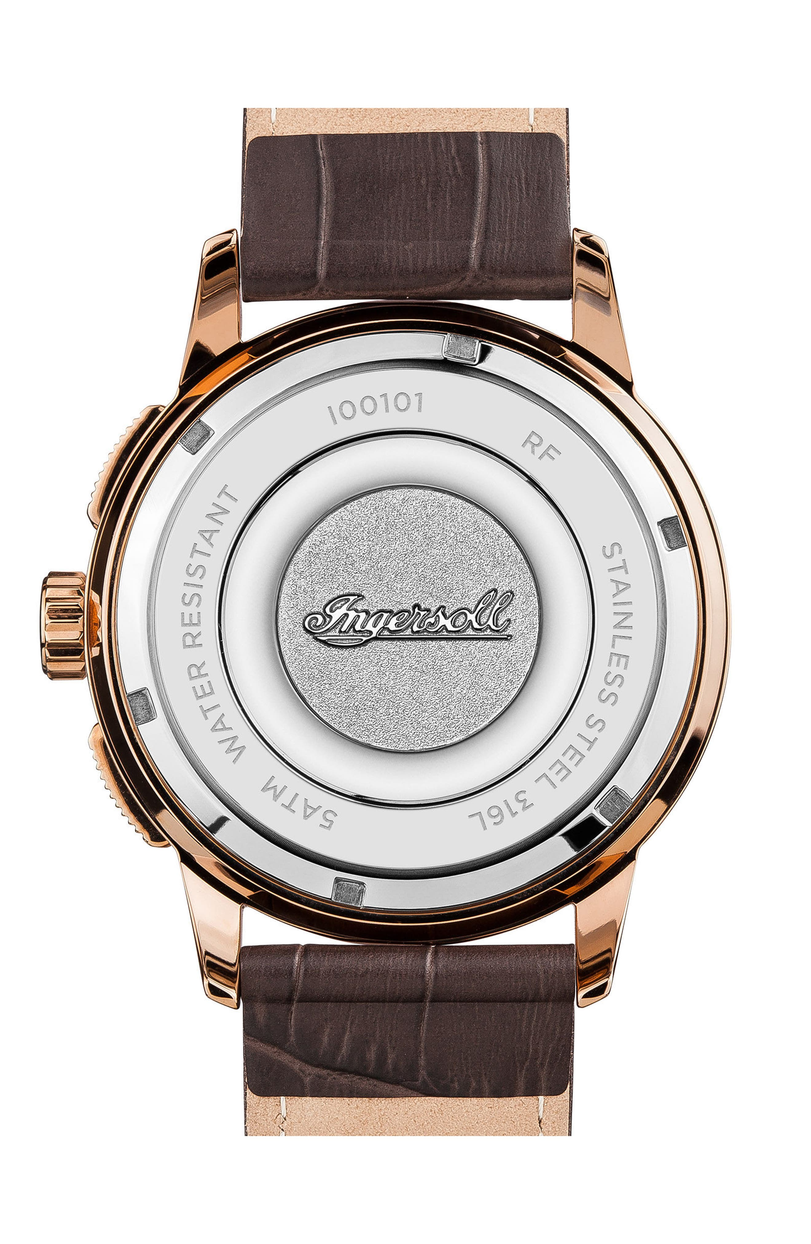 Ingersoll Regent Chronograph Leather Strap Watch, 47mm,                             Alternate thumbnail 2, color,                             Brown/ Silver/ Rose Gold