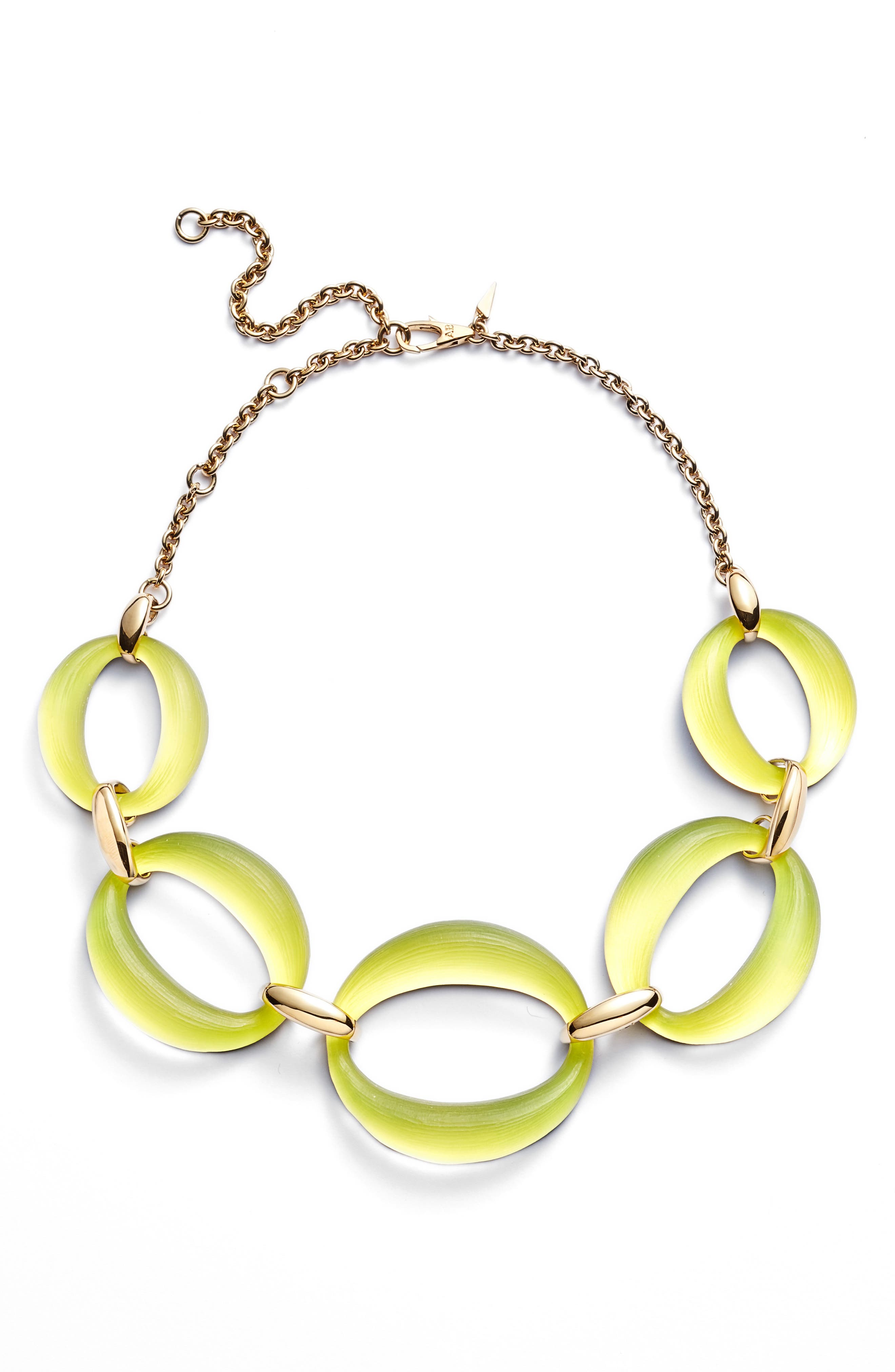 Large Lucite<sup>®</sup> Link Frontal Necklace,                         Main,                         color, Titanium Yellow