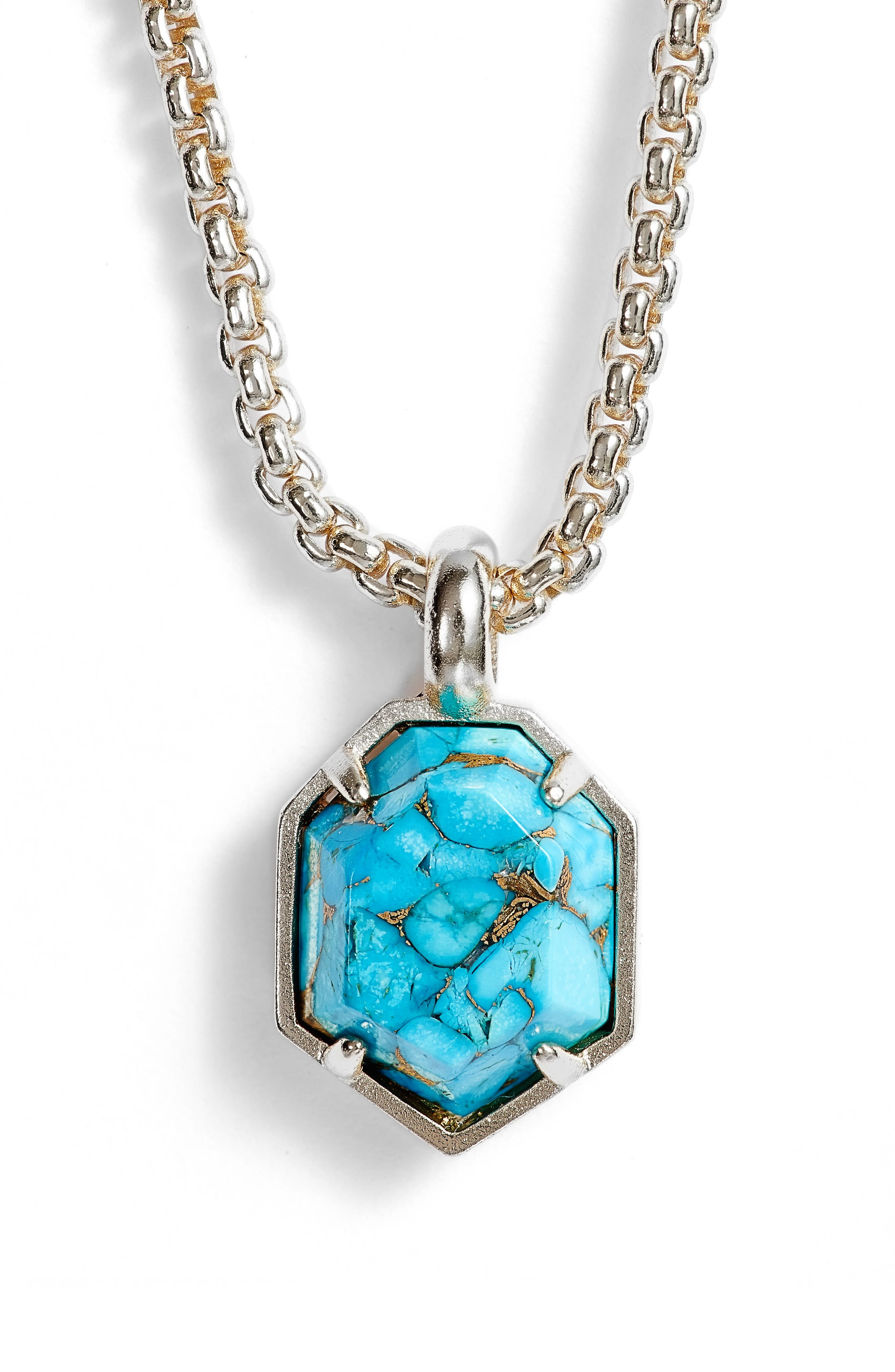 Teo Semiprecious Pendant Necklace,                             Alternate thumbnail 2, color,                             Turquoise/ Bronze