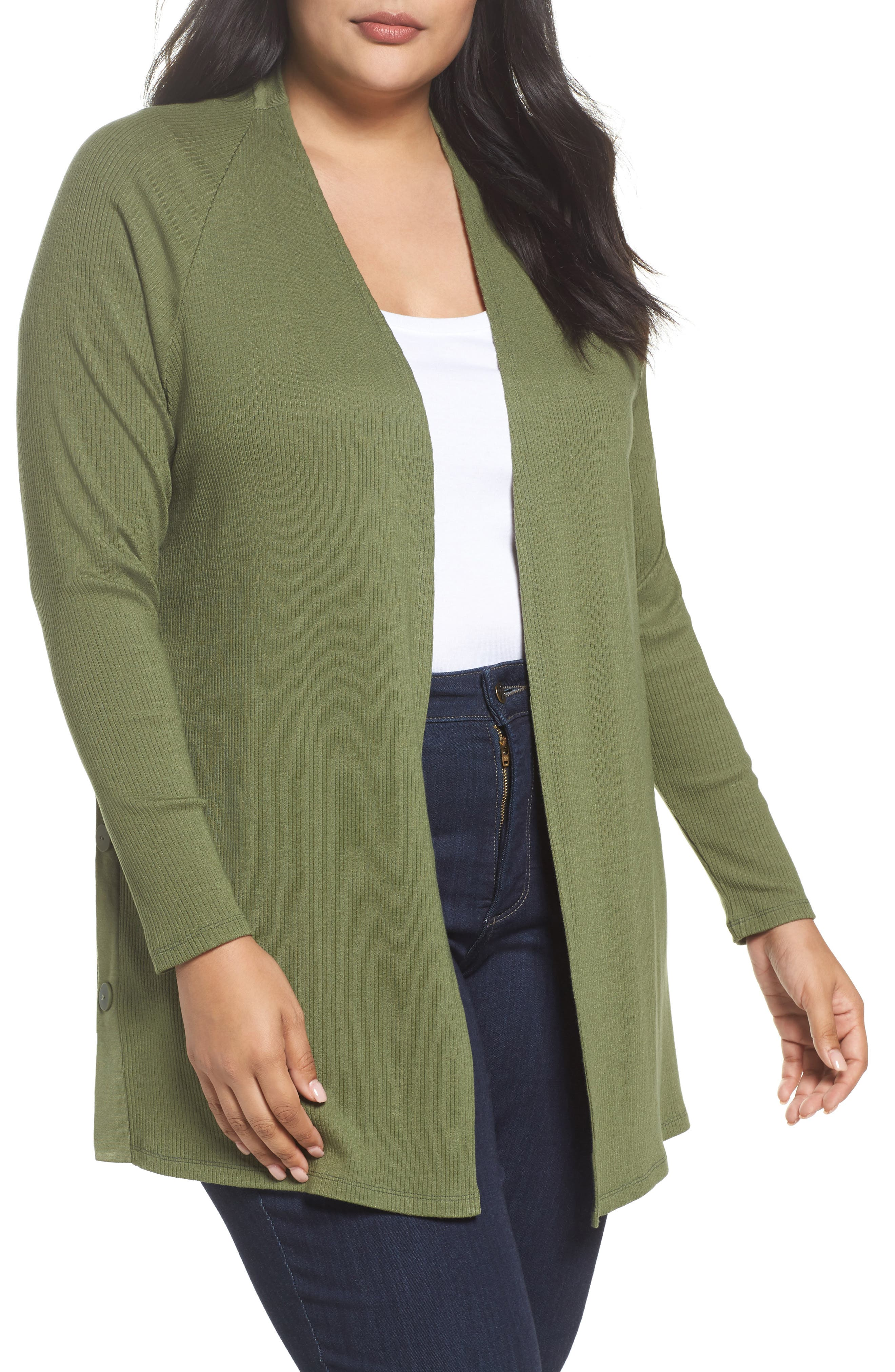 Sejour Easy Long Open Front Cardigan (Plus Size)