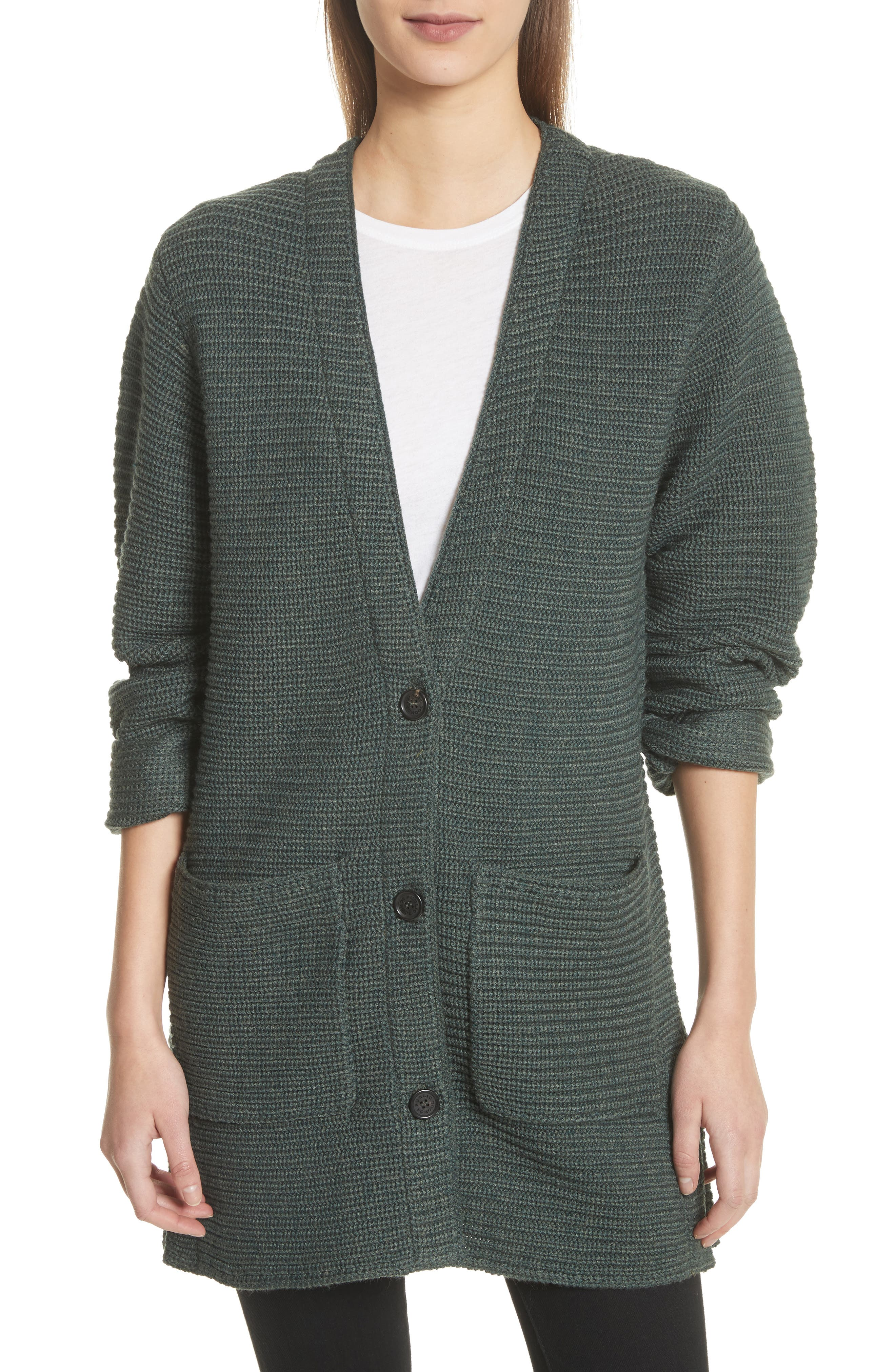 Fleta Merino Wool Blend Cardigan,                             Main thumbnail 1, color,                             Olive