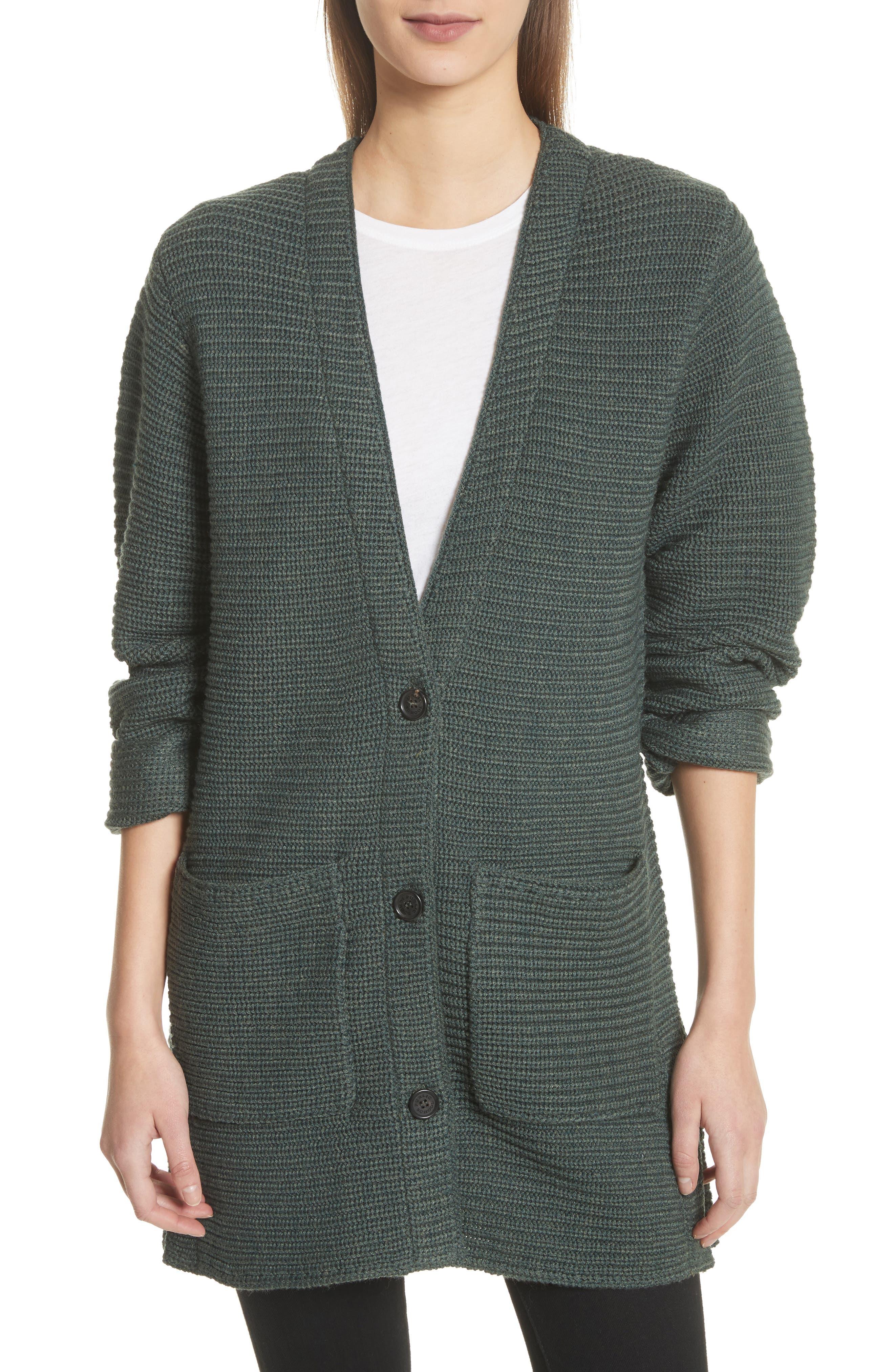 Fleta Merino Wool Blend Cardigan,                         Main,                         color, Olive