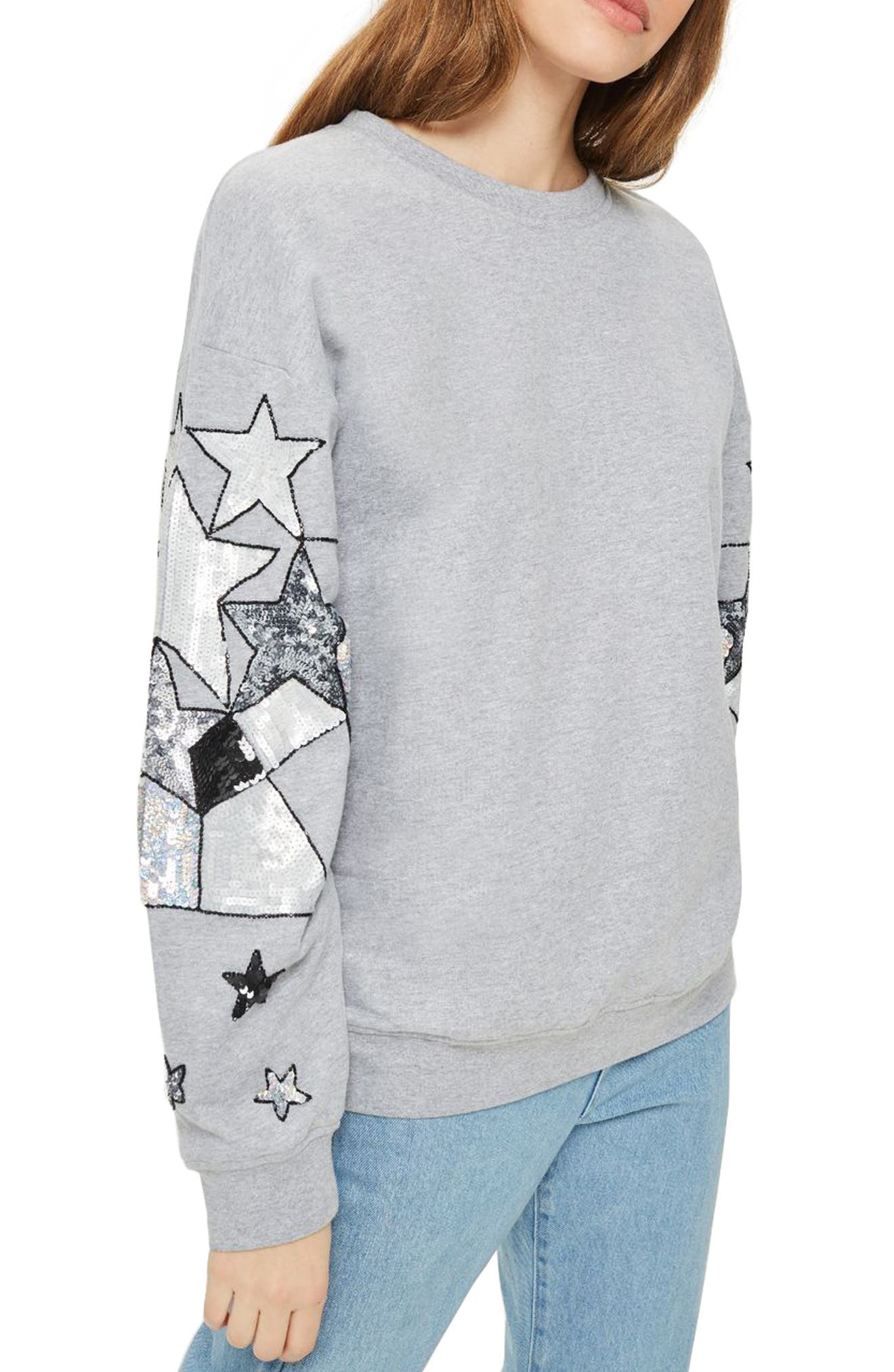 Sequin Star Sleeve Sweatshirt,                         Main,                         color, Grey Marl