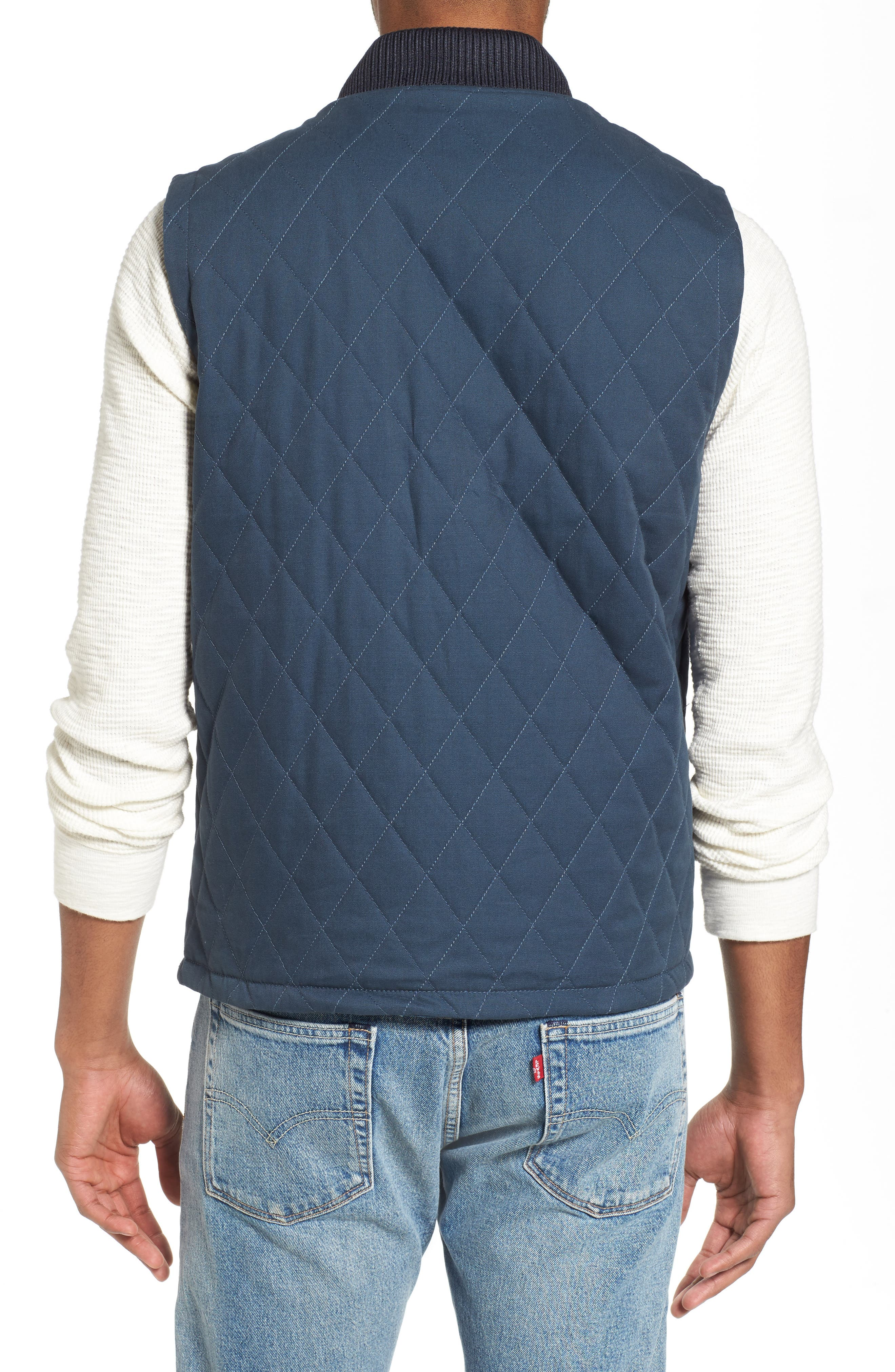 Reversible Canvas Vest,                             Alternate thumbnail 2, color,                             Navy/ Indigo Plaid